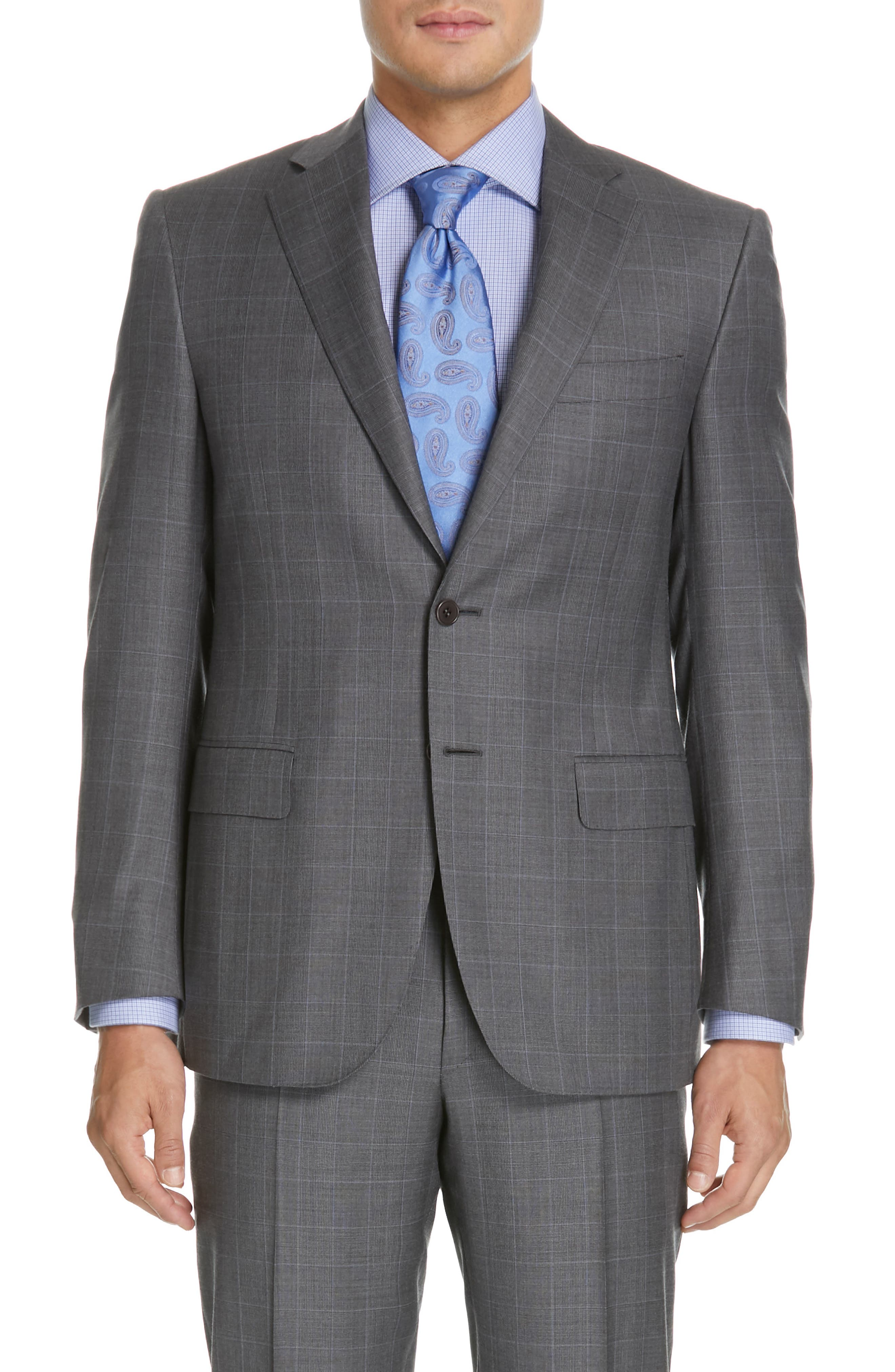 CANALI, Sienna Classic Fit Plaid Wool Suit, Alternate thumbnail 5, color, GREY