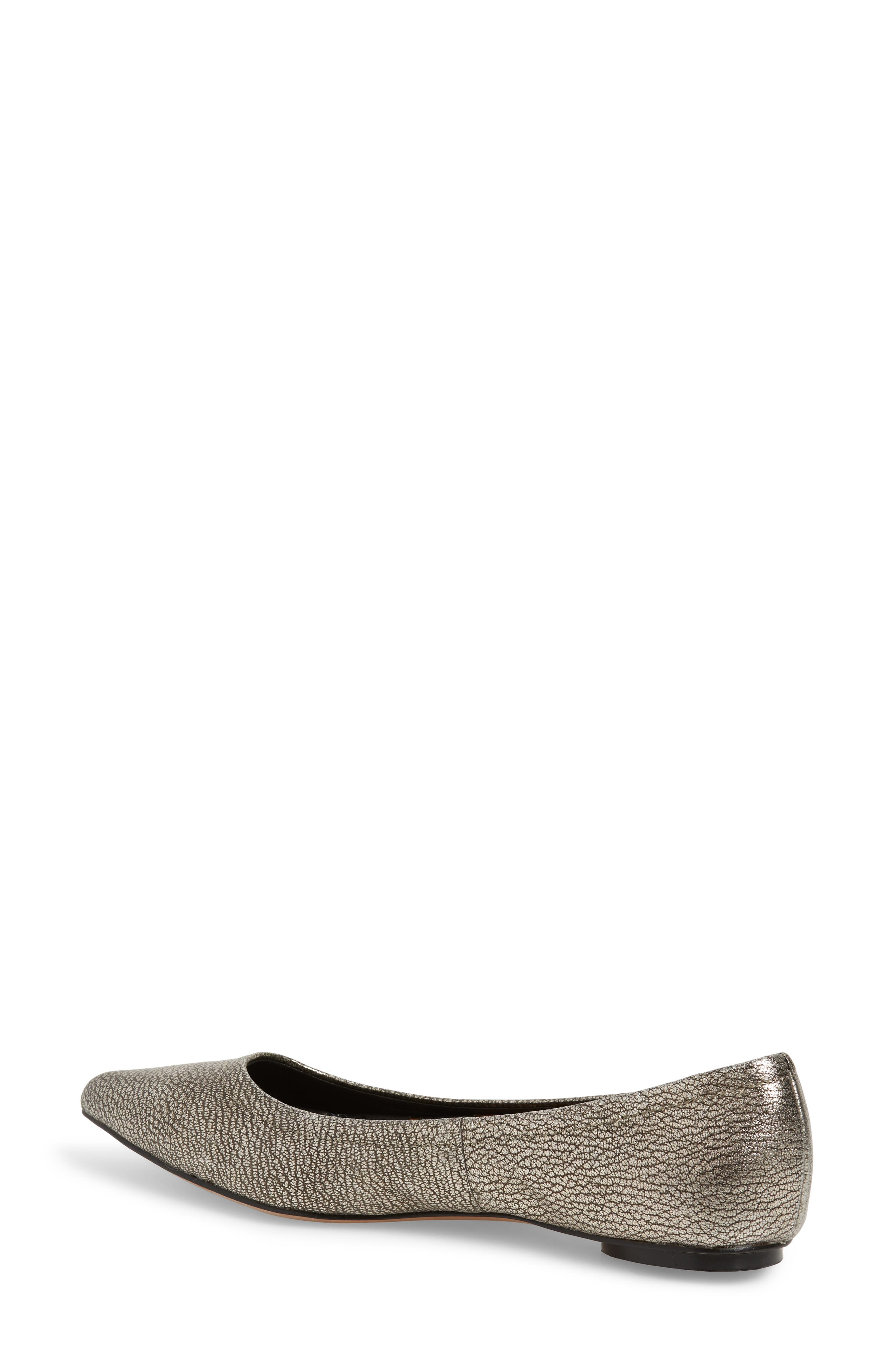 LINEA PAOLO, Nico Pointy Toe Flat, Alternate thumbnail 2, color, ANTHRACITE LEATHER