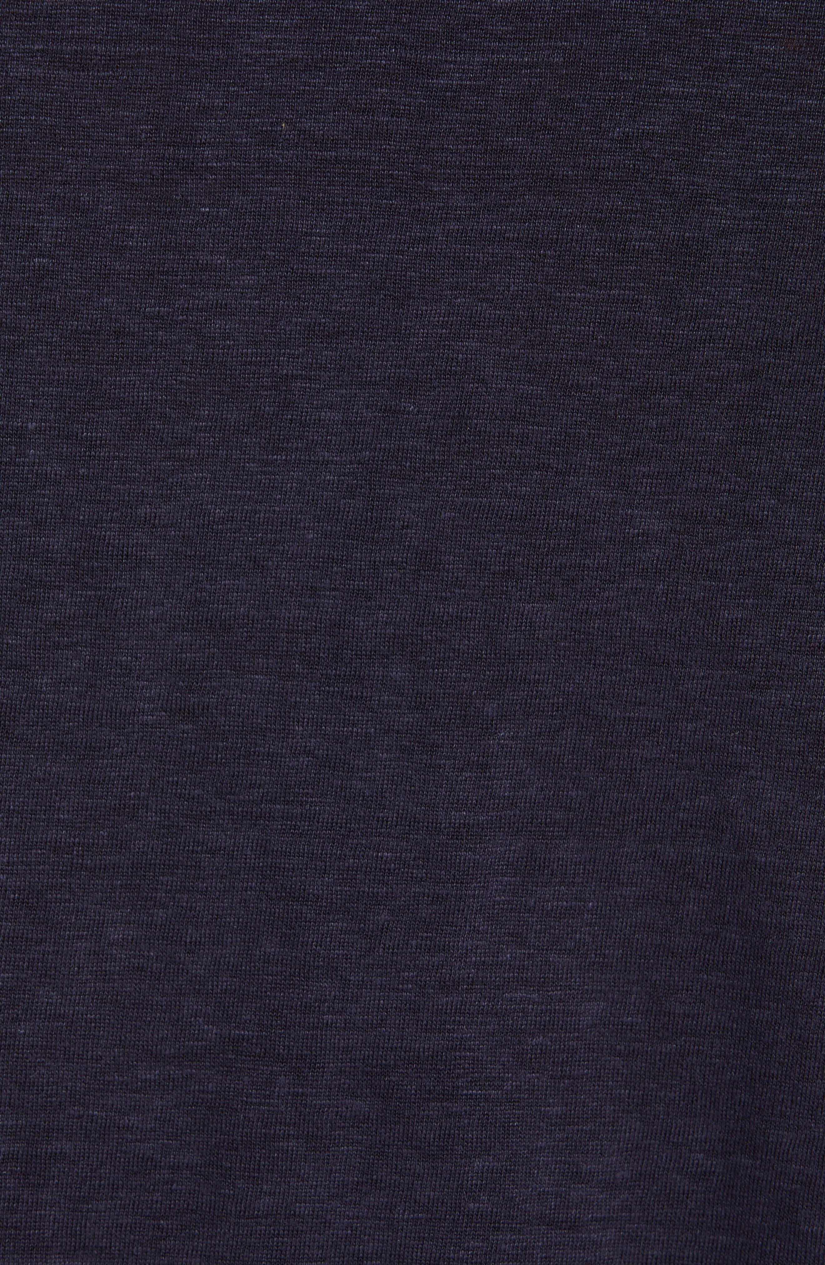 ERMENEGILDO ZEGNA, Ermenegilda Zegna Linen Polo Shirt, Alternate thumbnail 5, color, NAVY