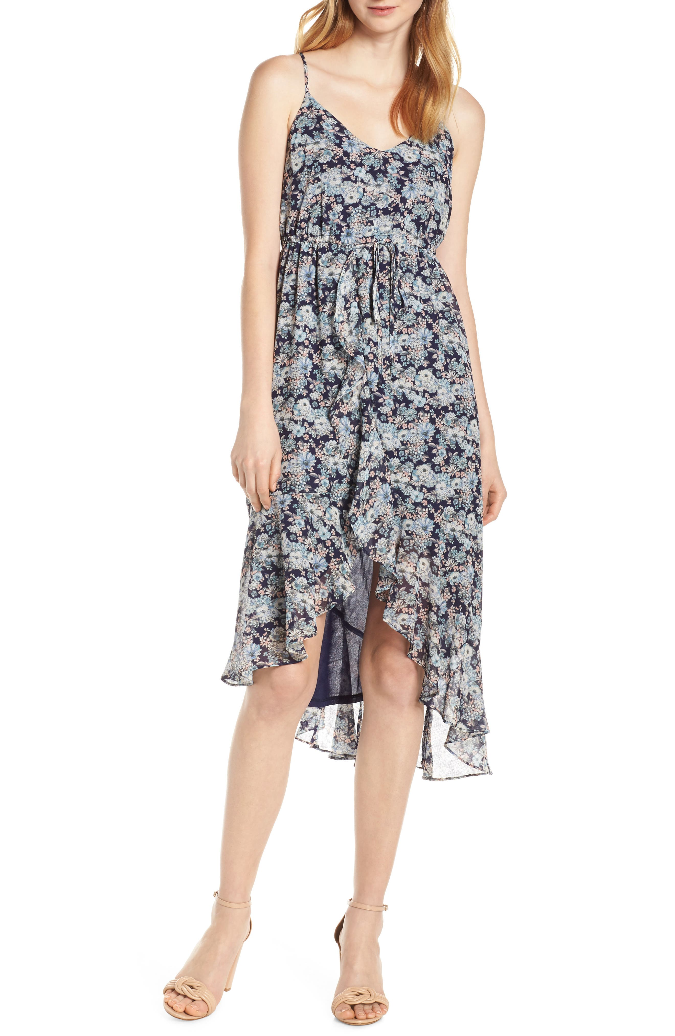 19 COOPER, Asymmetrical Ruffle Hem Dress, Main thumbnail 1, color, 410