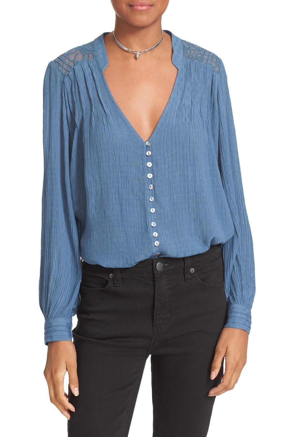FREE PEOPLE, Canyon Rose Embroidered Yoke Blouse, Alternate thumbnail 5, color, 400