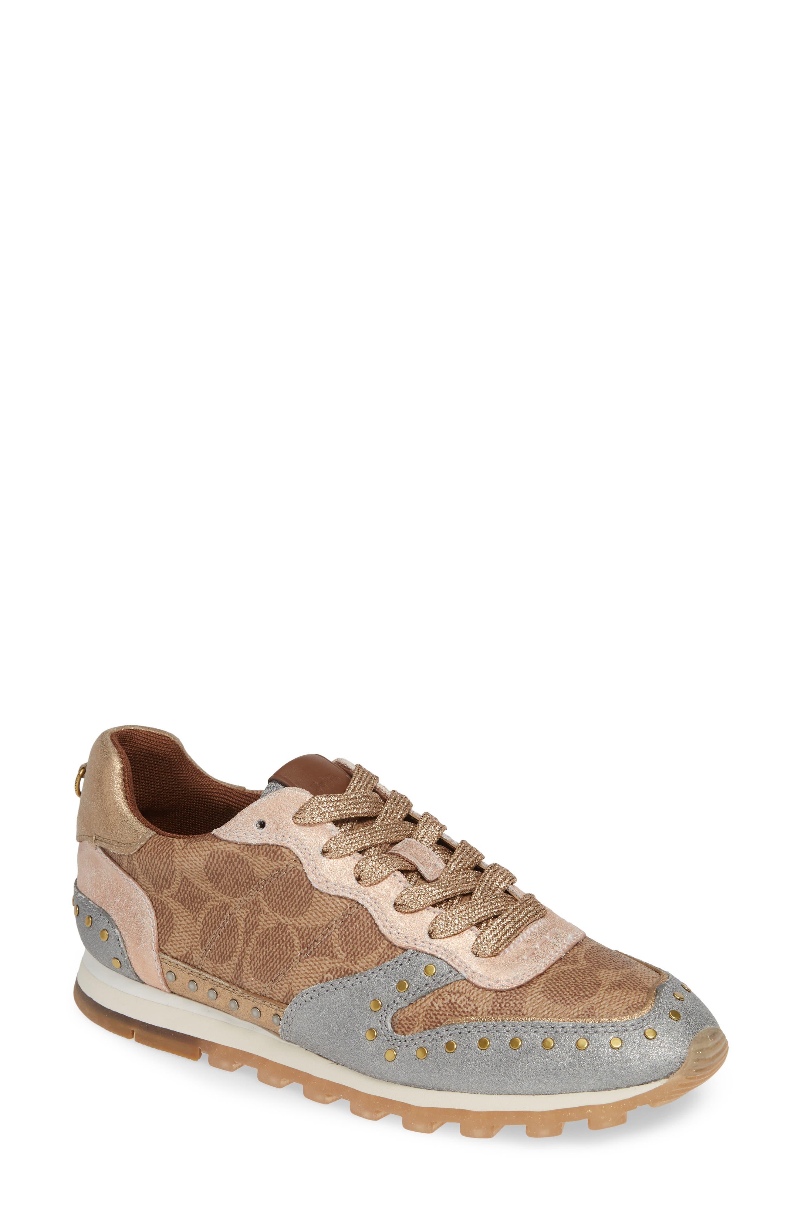 COACH, C118 Studded Sneaker, Main thumbnail 1, color, TAN/ GOLD MULTI