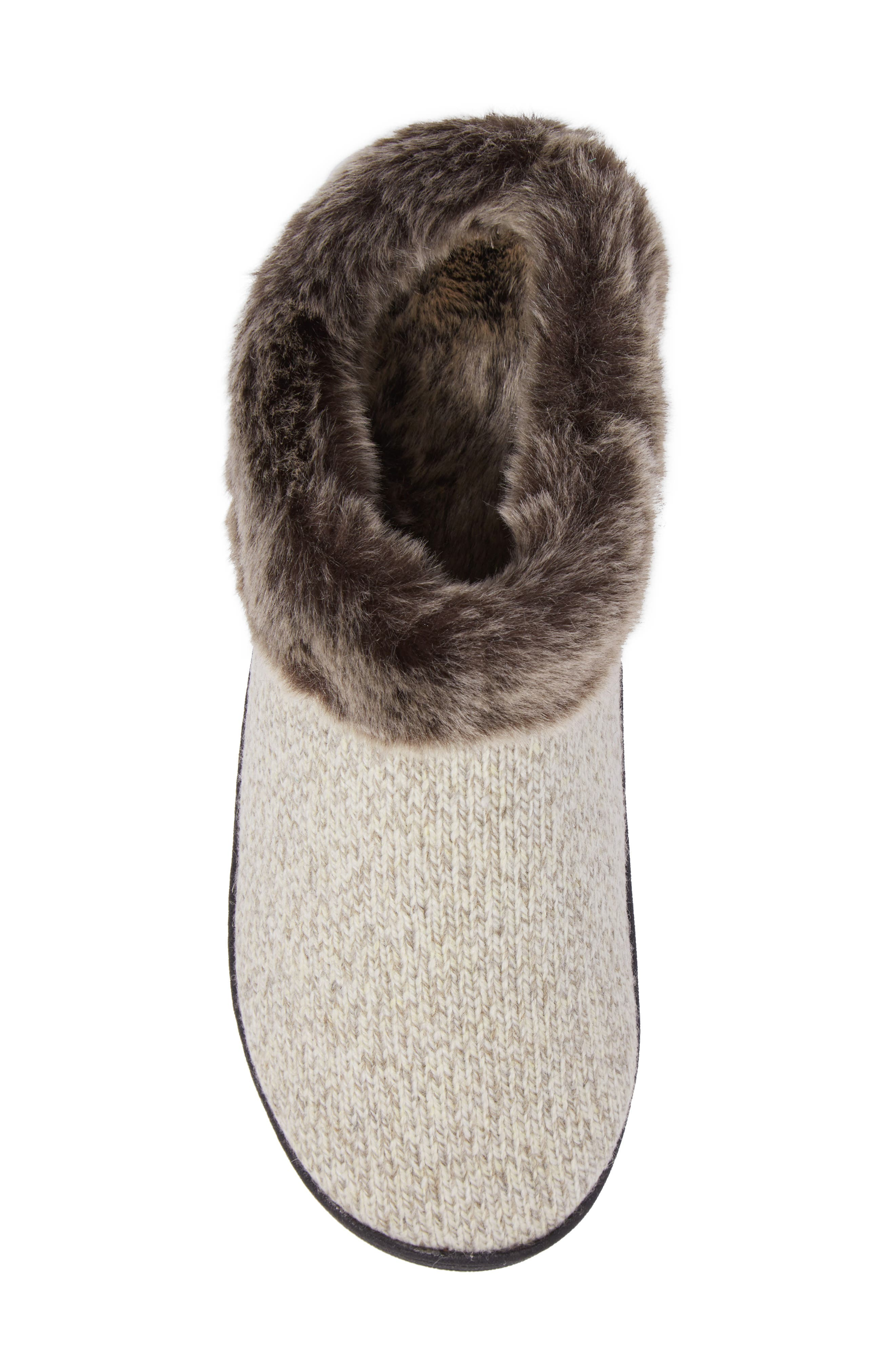 ACORN, Chinchilla Faux Fur Slipper, Alternate thumbnail 5, color, CHARCOAL HEATHER