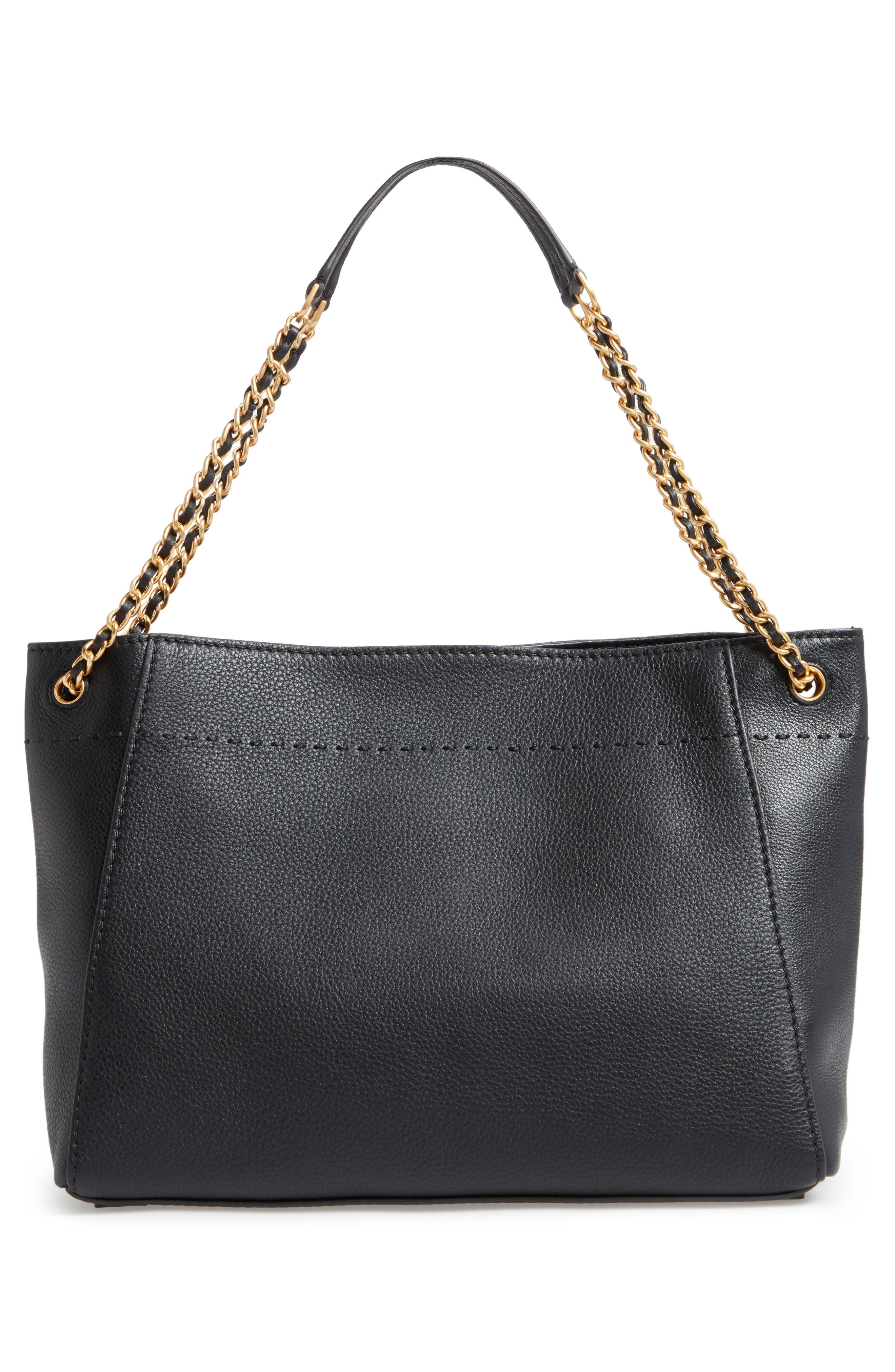TORY BURCH, McGraw Slouchy Leather Shoulder Bag, Alternate thumbnail 3, color, 001