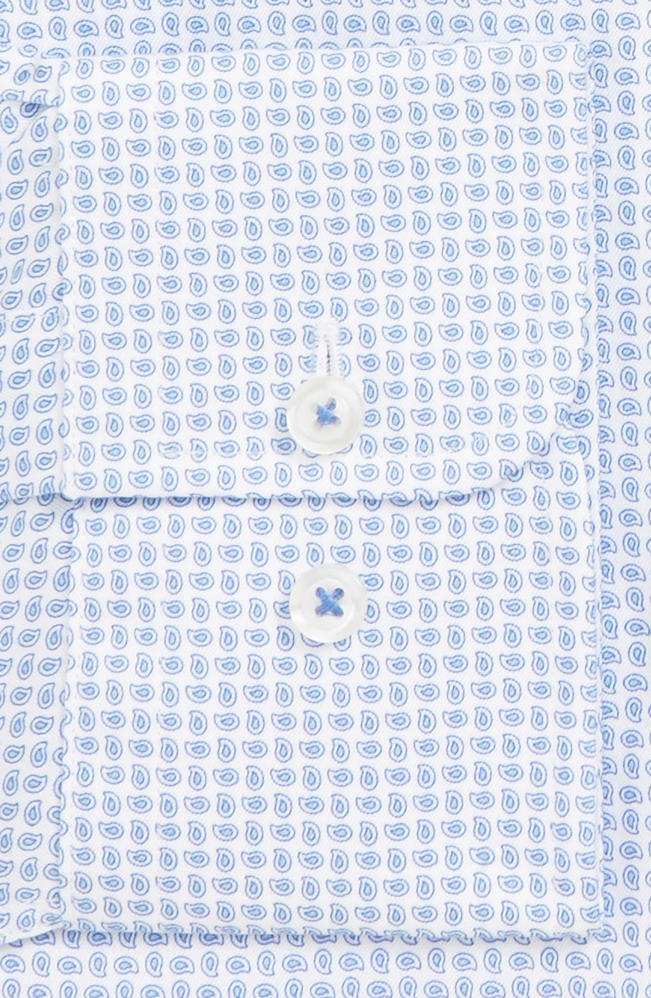 DAVID DONAHUE, Slim Fit Paisley Dress Shirt, Alternate thumbnail 2, color, BLUE