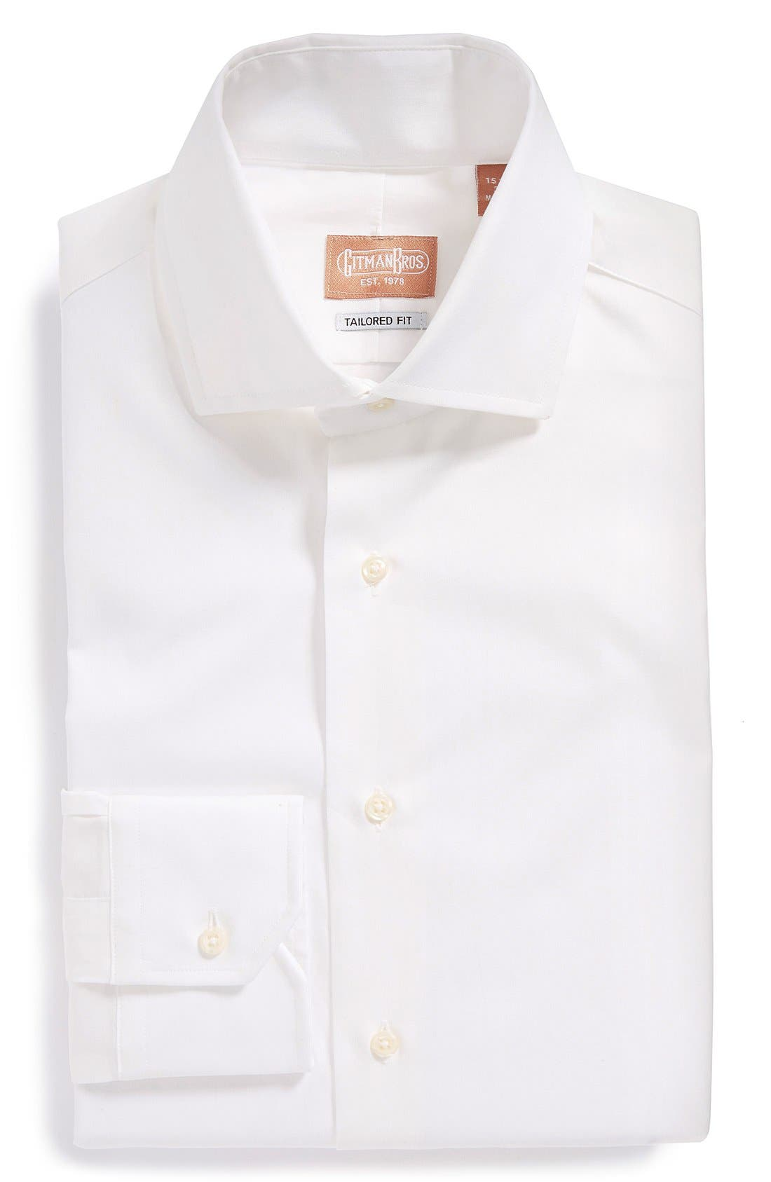 GITMAN, Tailored Fit Dress Shirt, Main thumbnail 1, color, WHITE