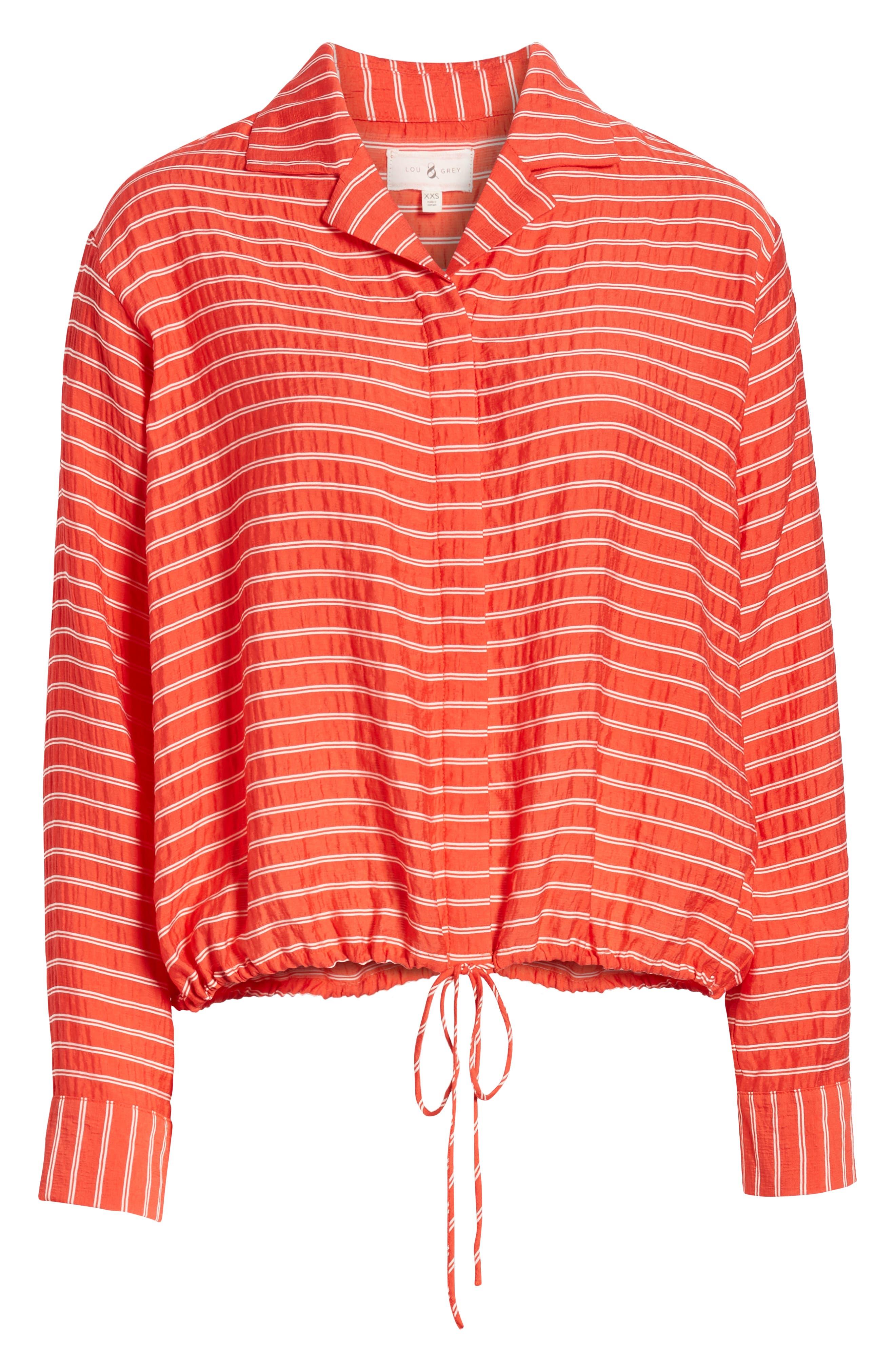 LOU & GREY, Sunny Stripe Drawstring Waist Blouse, Alternate thumbnail 6, color, 600