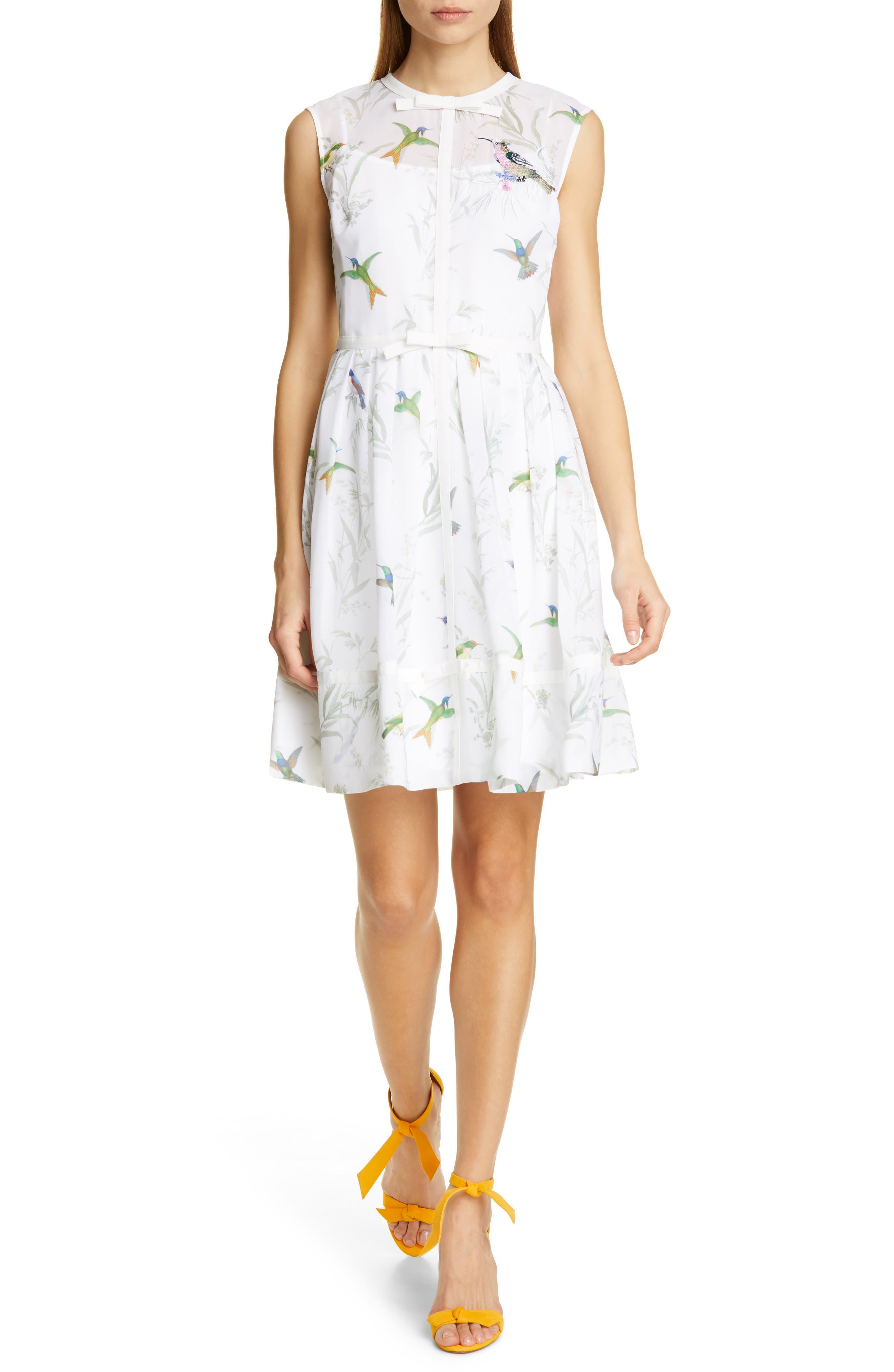 Ted Baker London Aleksa Fortune Fit & Flare Dress, White