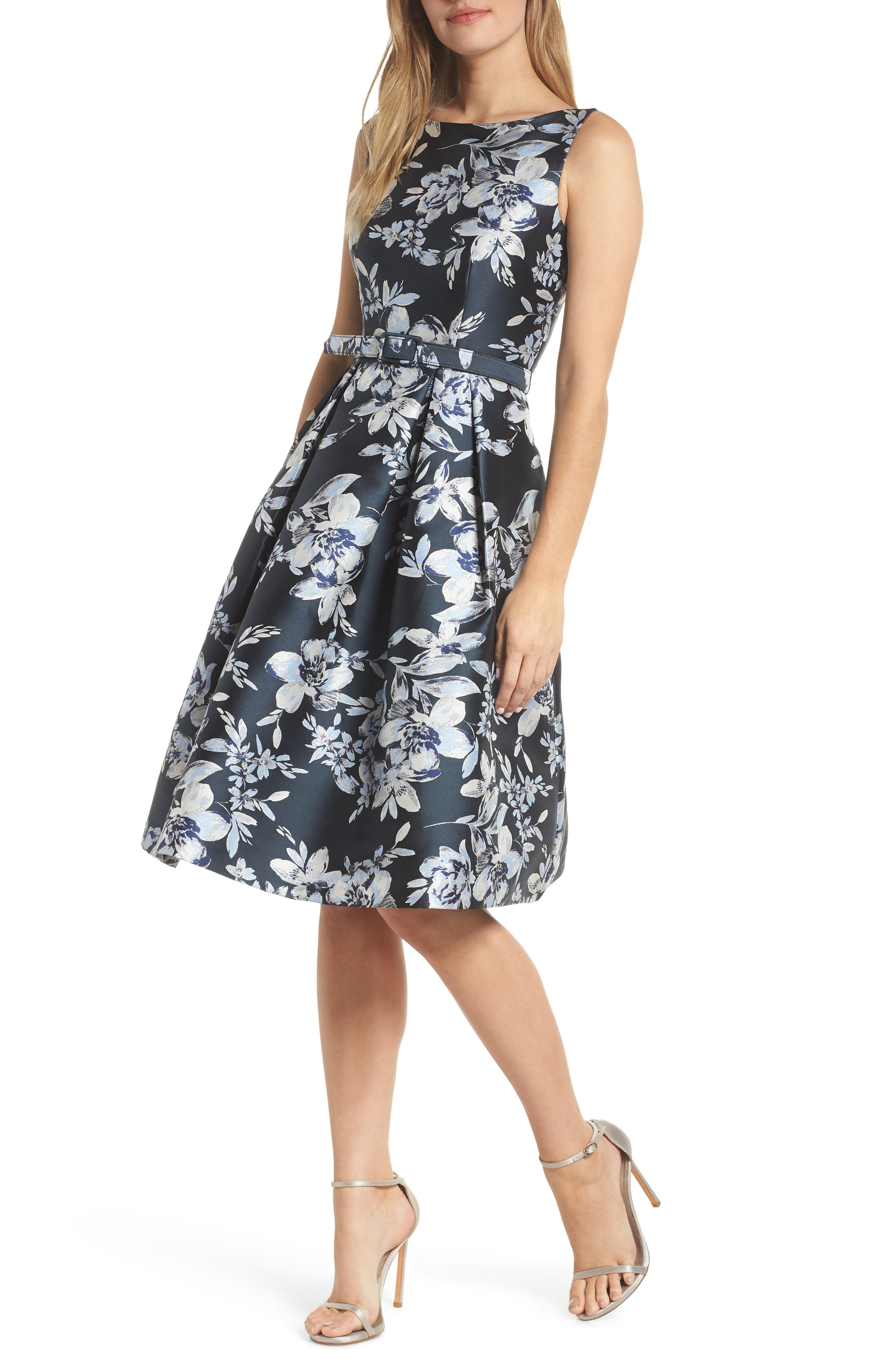 ELIZA J, Metallic Floral Belted Fit & Flare Dress, Main thumbnail 1, color, NAVY