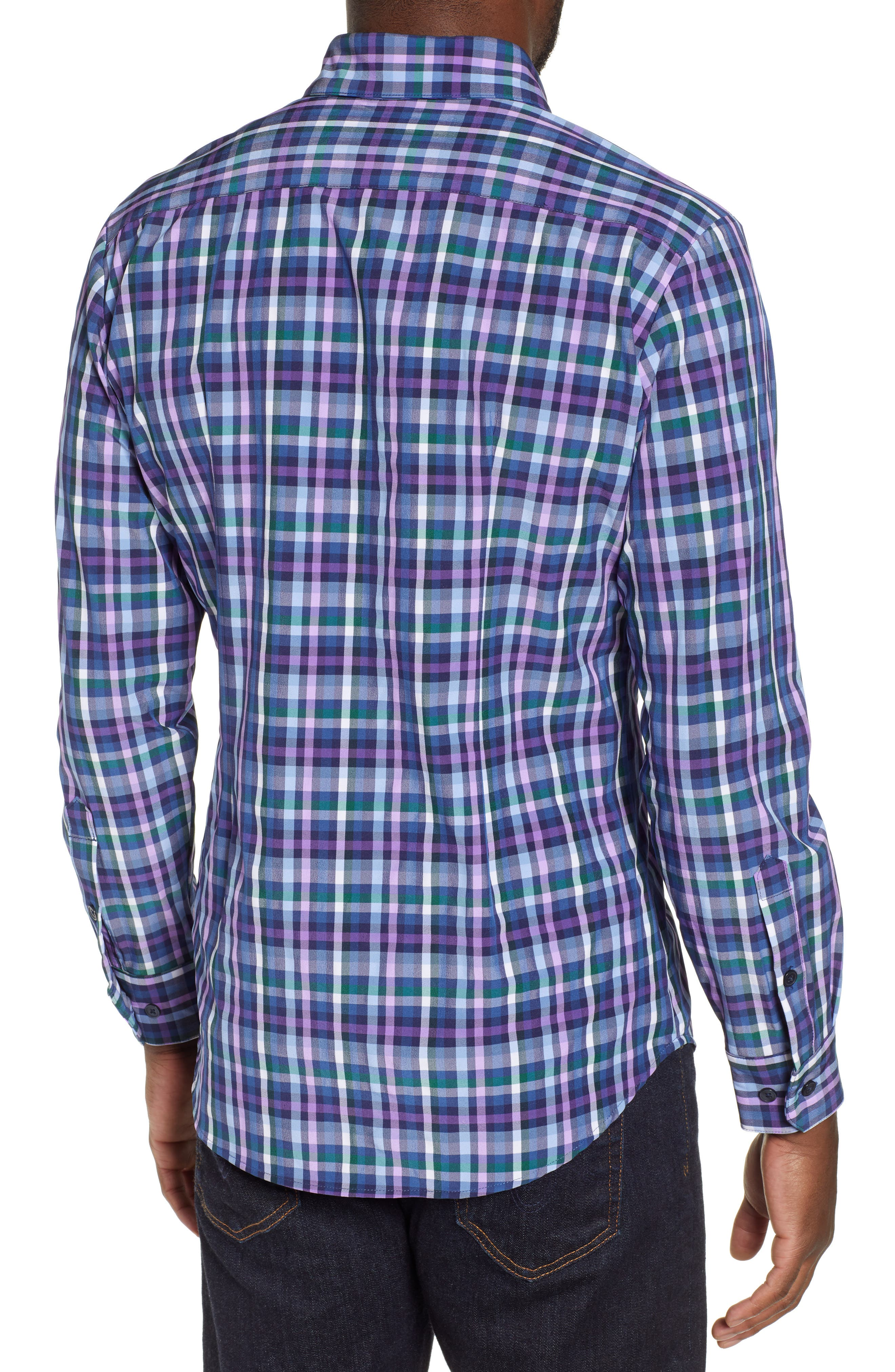MIZZEN+MAIN, Snyder Plaid Performance Sport Shirt, Alternate thumbnail 3, color, NAVY