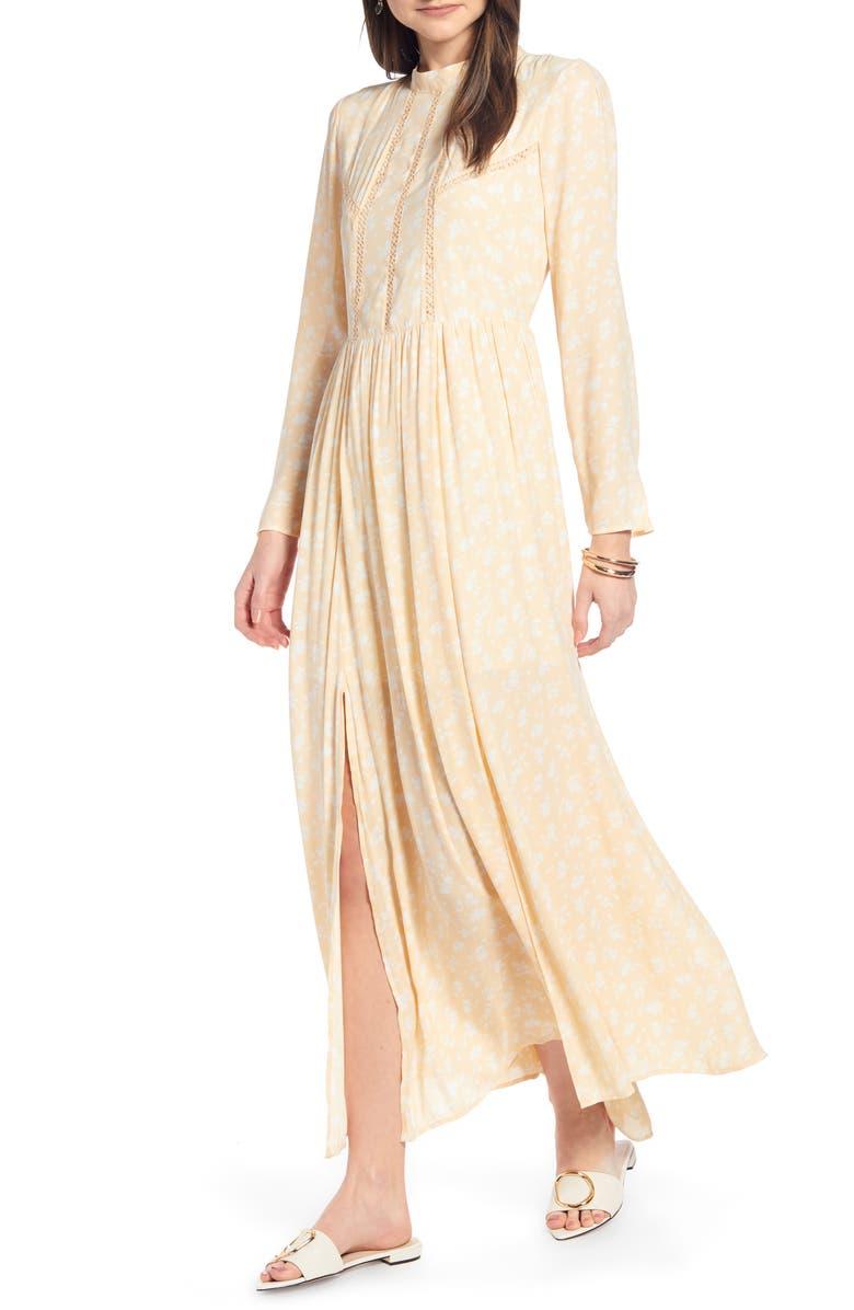 618188482 Navy Floral Long Sleeve Maxi Dress   Saddha