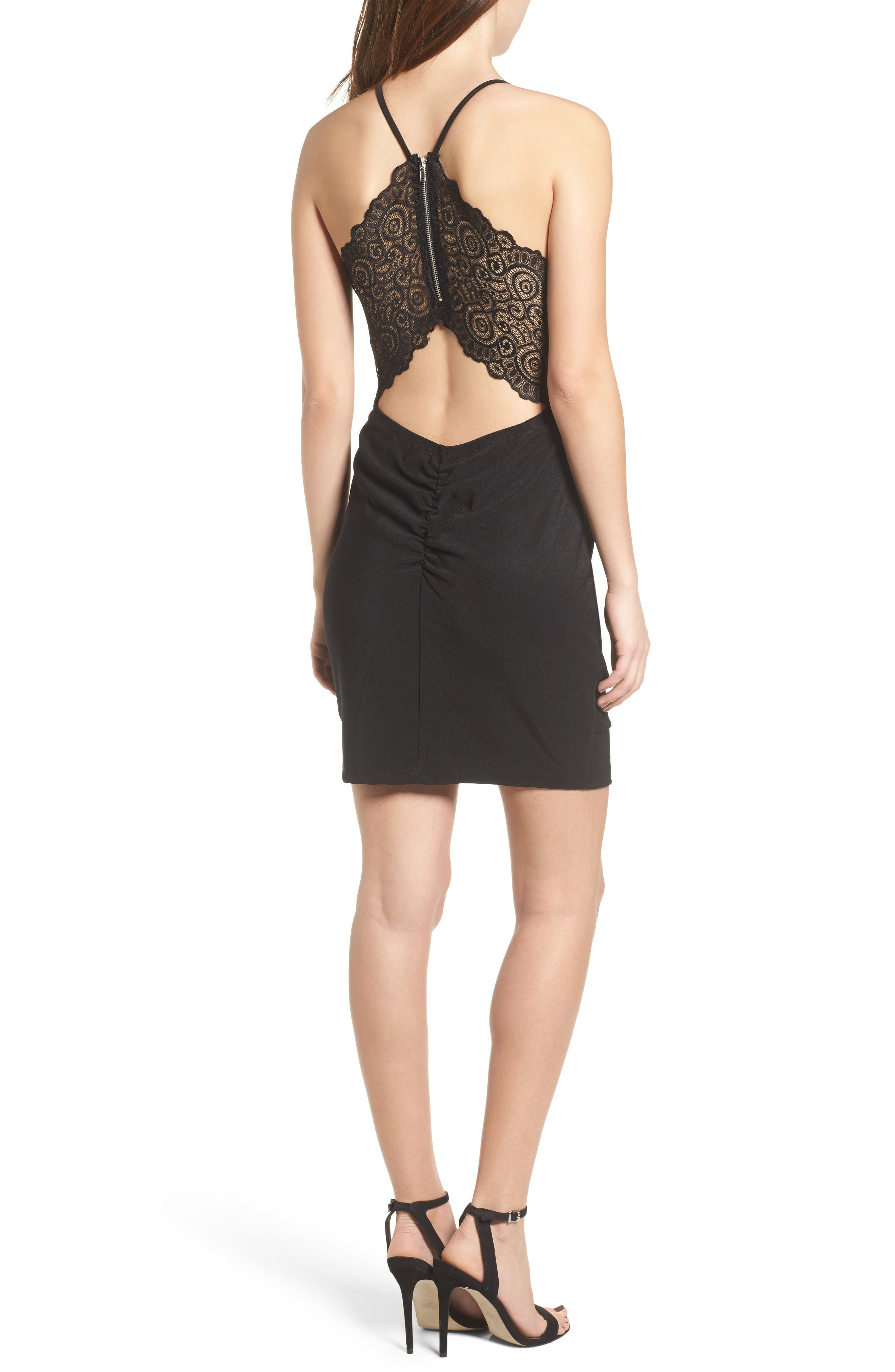 LOVE, NICKIE LEW, Lace Back Body-Con Dress, Alternate thumbnail 2, color, 001