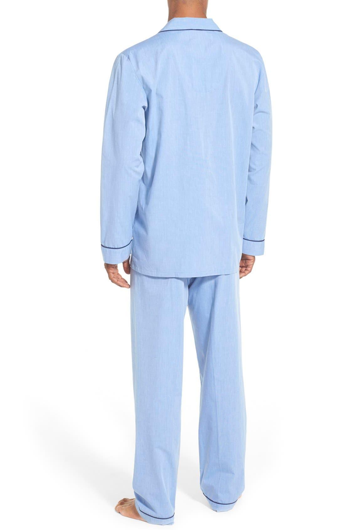 MAJESTIC INTERNATIONAL, Cotton Pajamas, Alternate thumbnail 2, color, BLUE