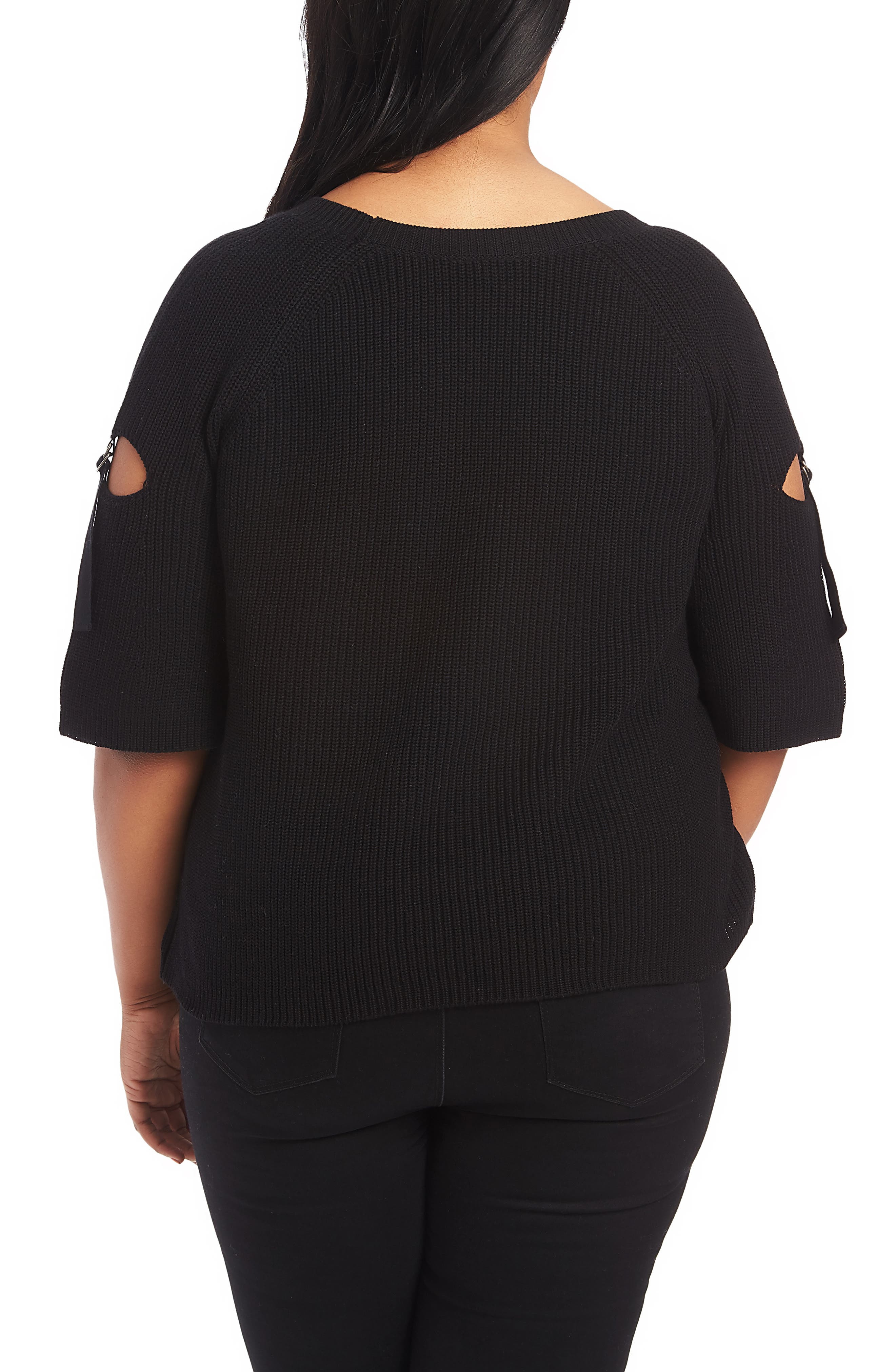 1.STATE, Keyhole Cutout Sleeve Sweater, Alternate thumbnail 2, color, 001