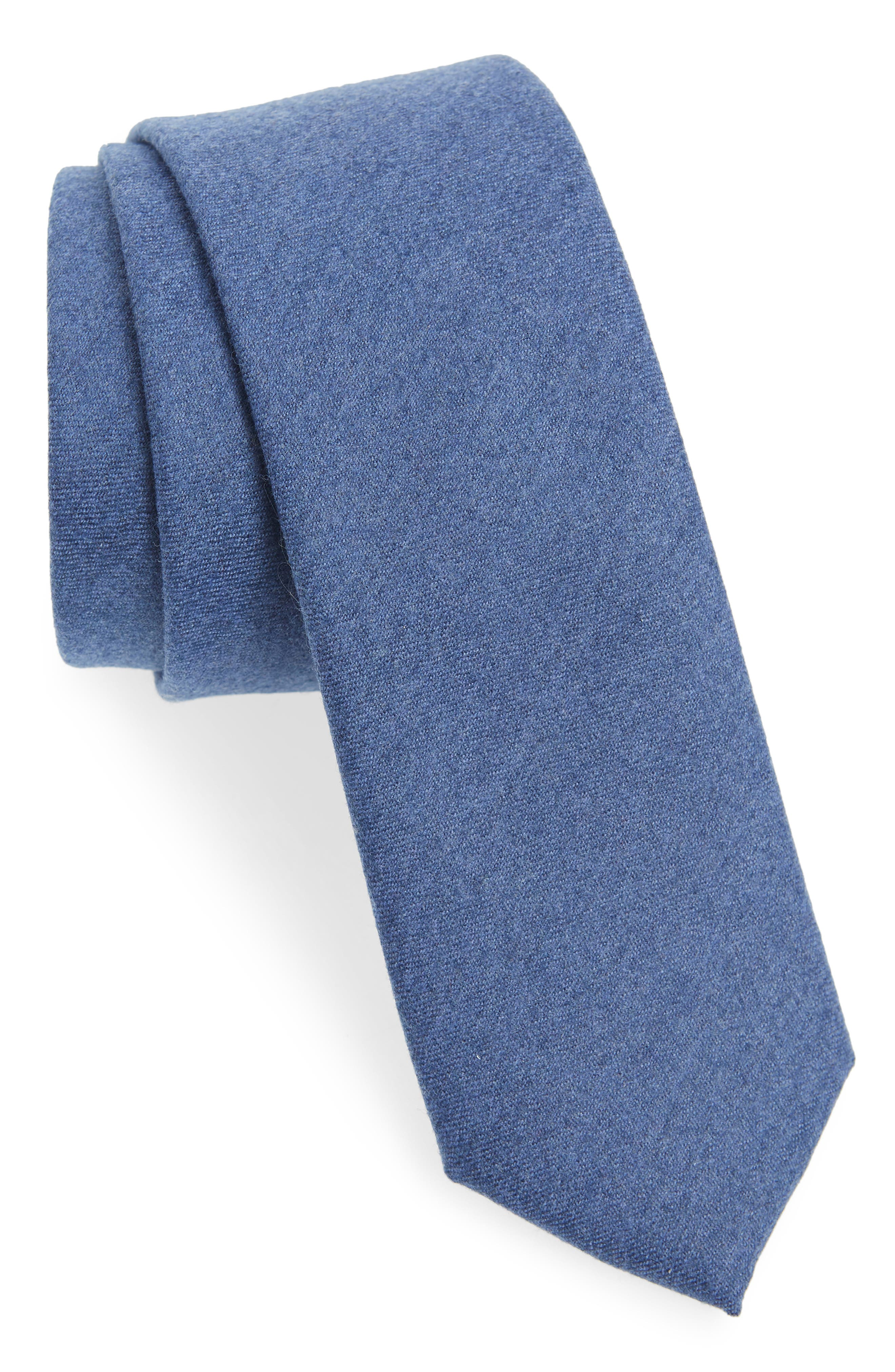 THE TIE BAR, Togna Solid Wool Tie, Main thumbnail 1, color, BLUE