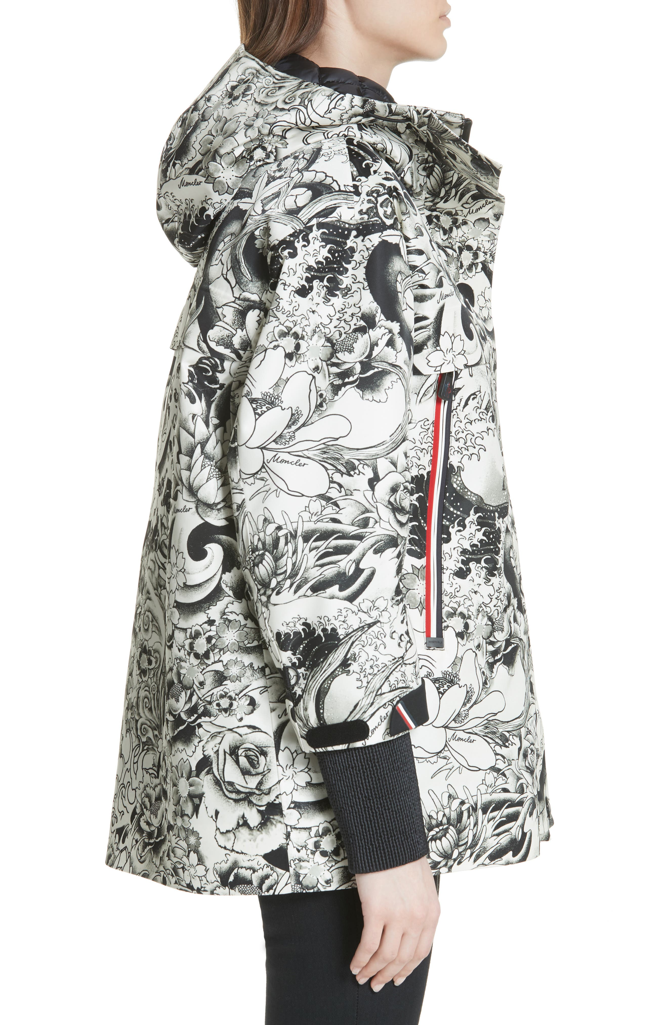 MONCLER, Neves Tattoo Print Hooded Down Coat, Alternate thumbnail 3, color, BLACK