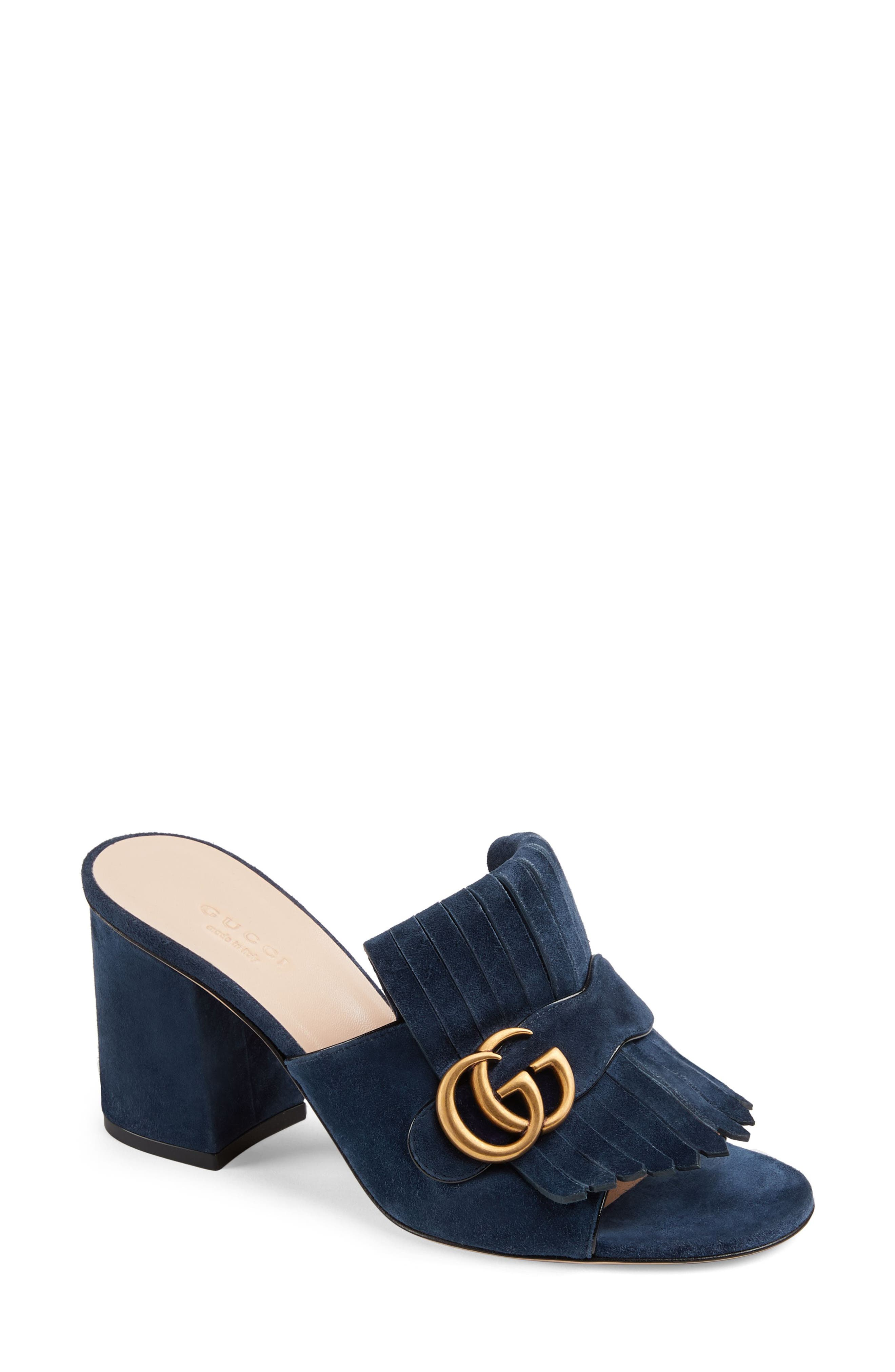 GUCCI, GG Marmont Peep Toe Mule, Main thumbnail 1, color, BLUE INK SUEDE