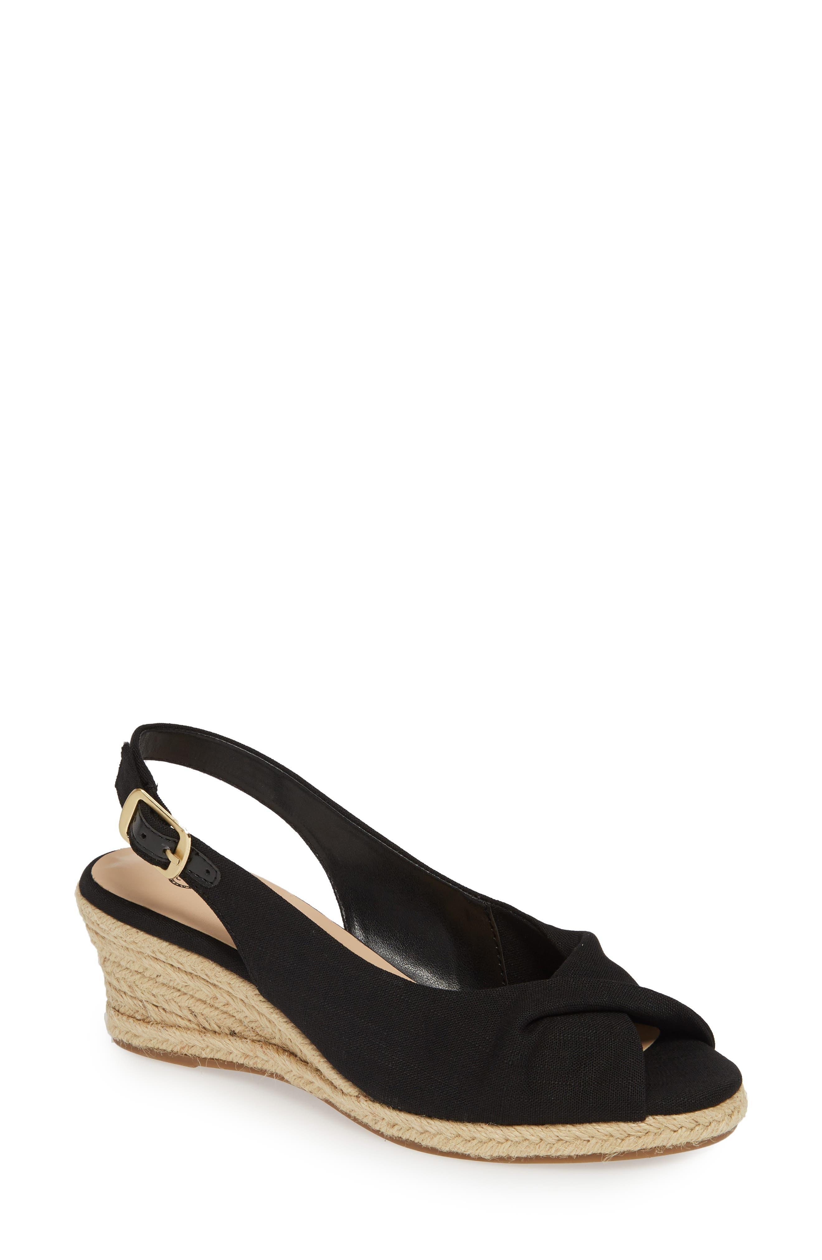 BELLA VITA Sylvie II Espadrille Wedge Sandal, Main, color, BLACK LINEN