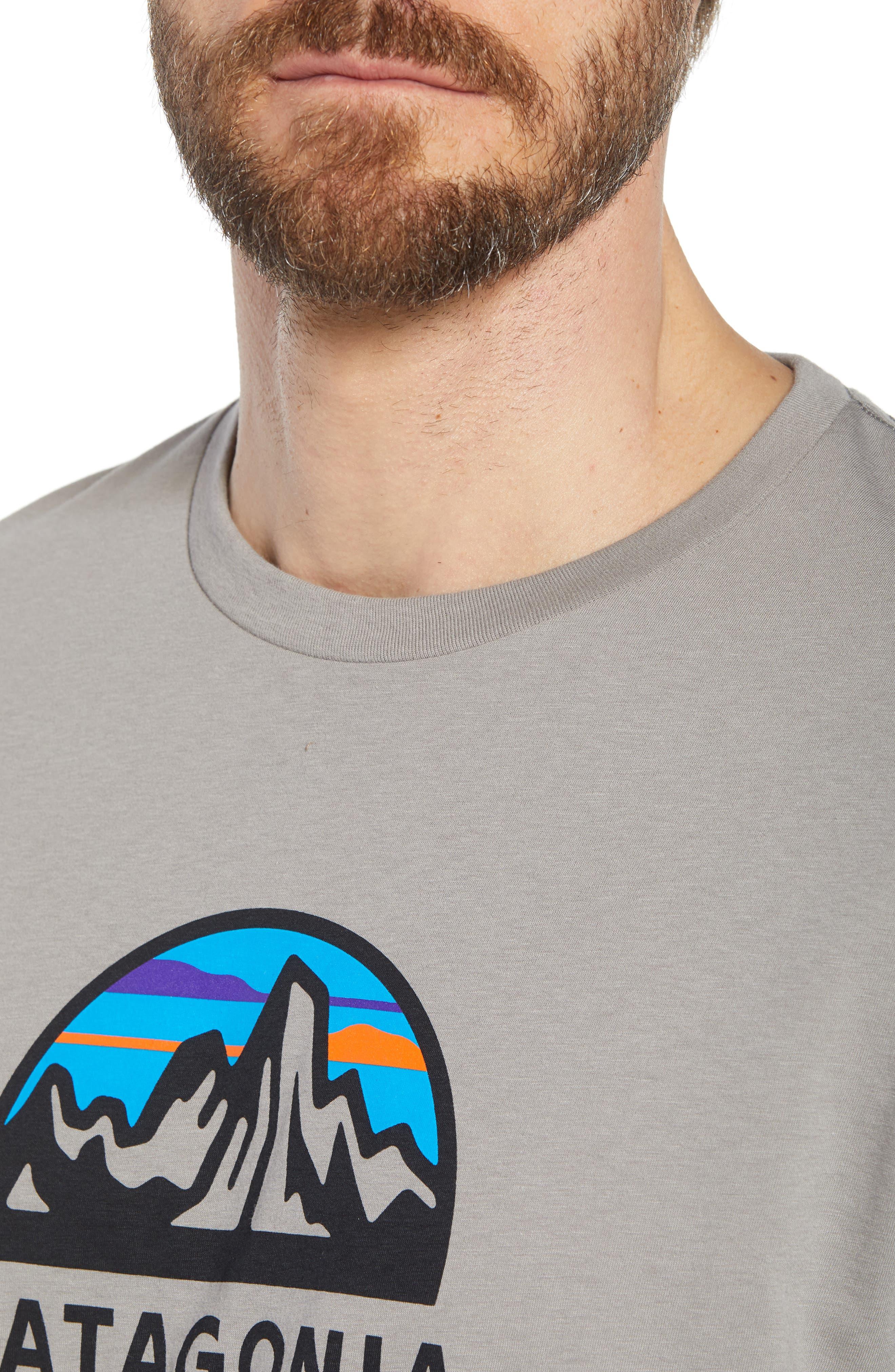 PATAGONIA, Fitz Roy Scope Crewneck T-Shirt, Alternate thumbnail 4, color, FEATHER GREY
