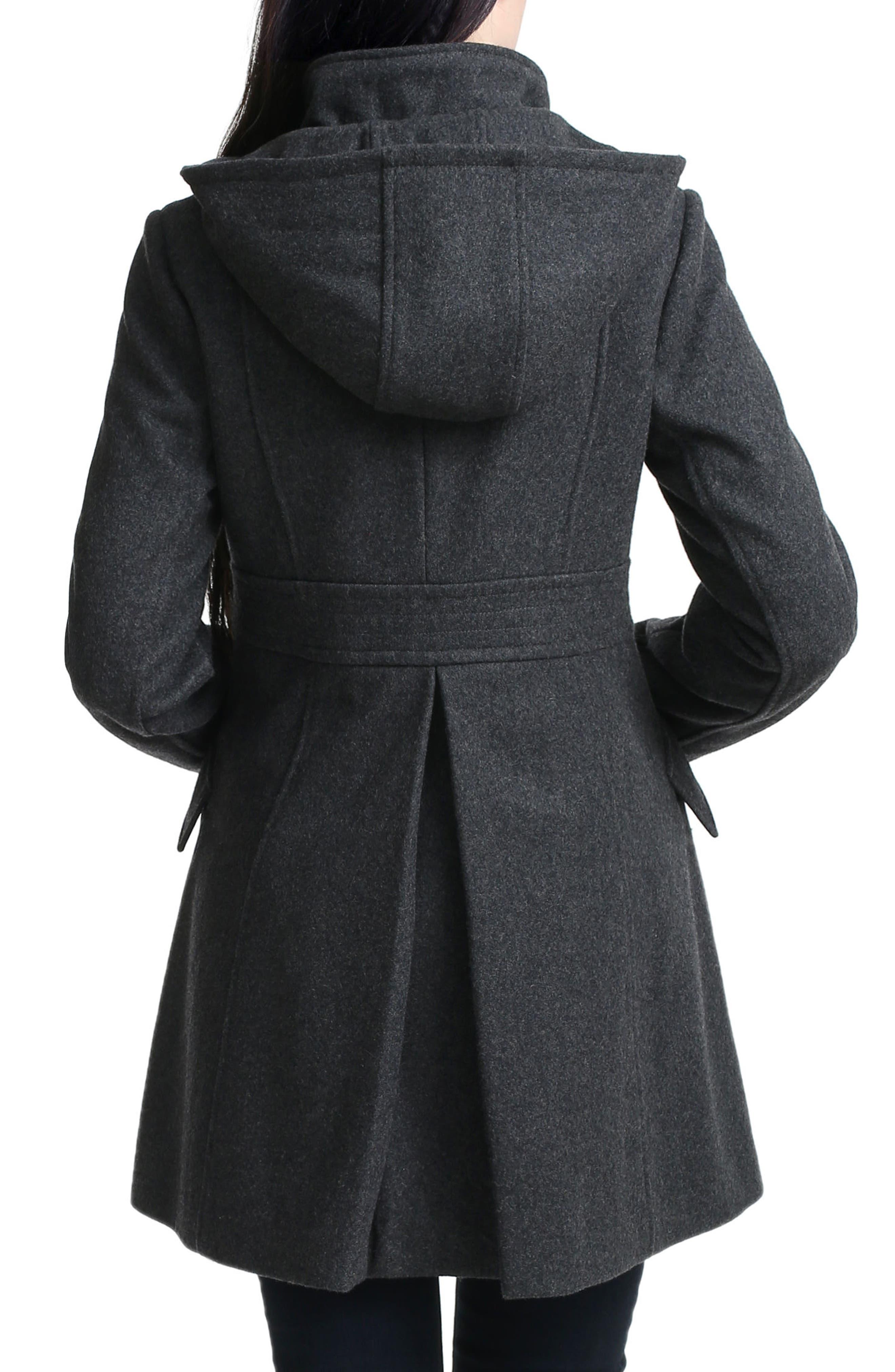 KIMI AND KAI, Cordella Wool Blend Hooded Maternity Coat, Alternate thumbnail 2, color, DARK HEATHER GRAY
