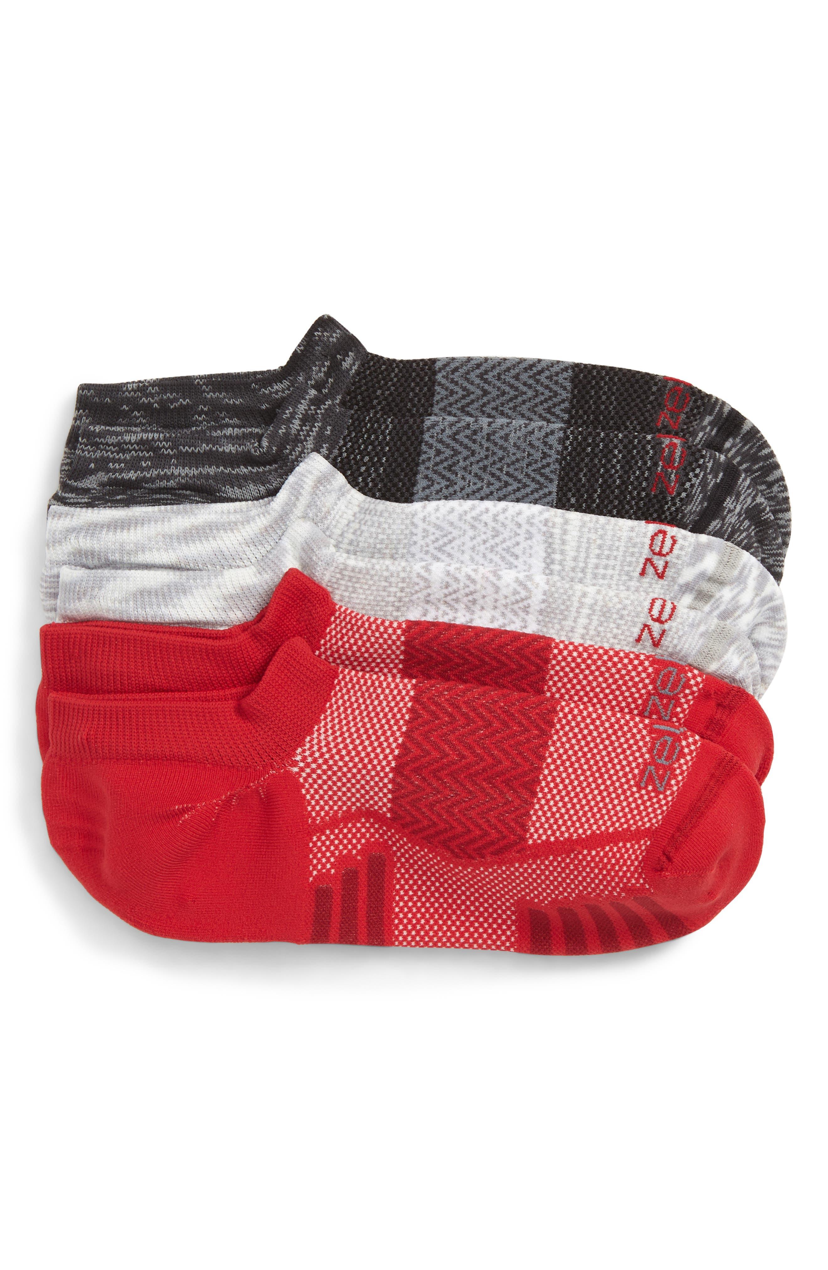 ZELLA, 3-Pack Ultra Light Running Socks, Main thumbnail 1, color, GREY/ RED/ BLACK
