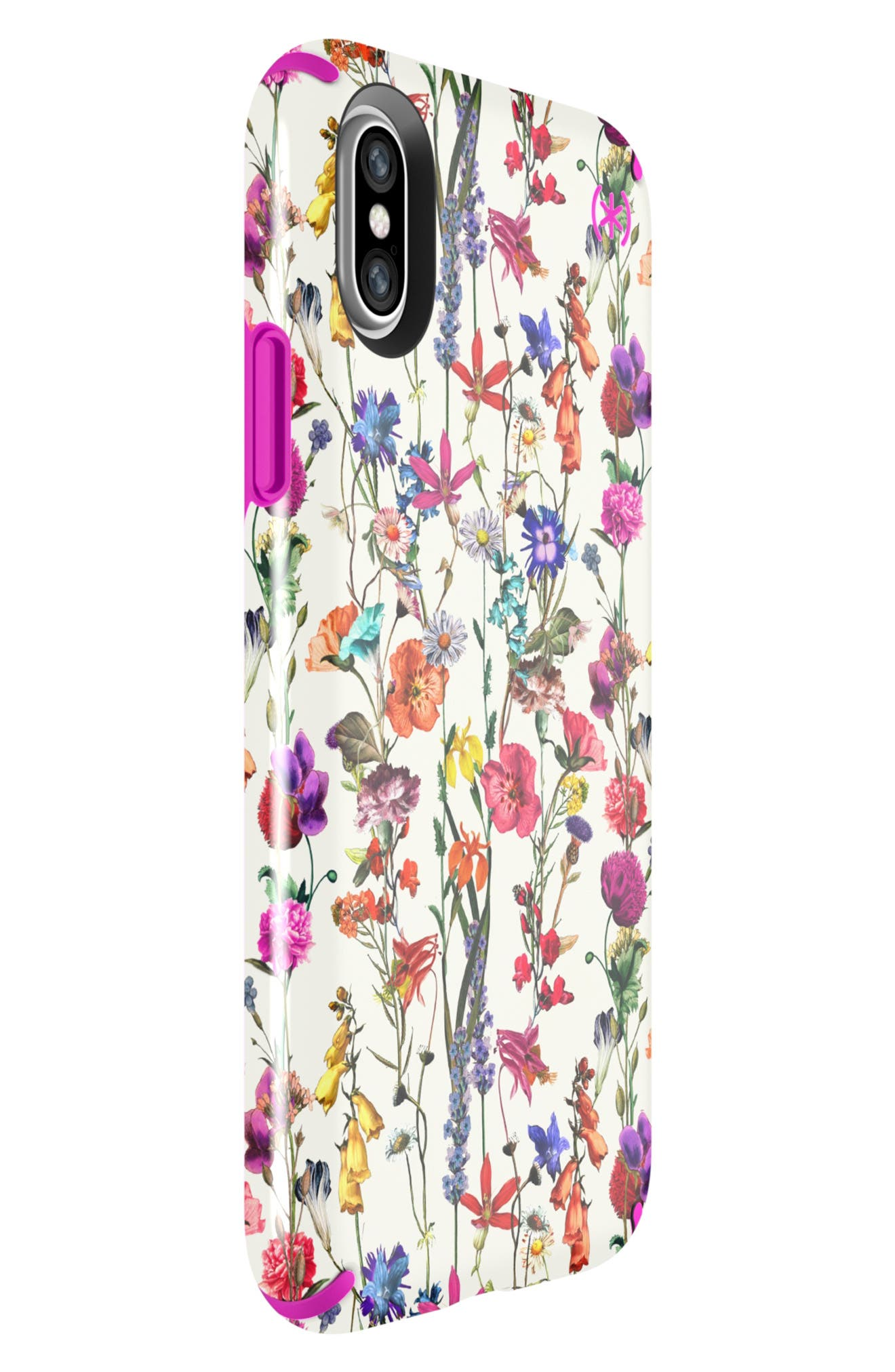 SPECK, Presidio Inked iPhone X & Xs Case, Alternate thumbnail 5, color, WHITEFLOWERS/ LIPSTICK PINK