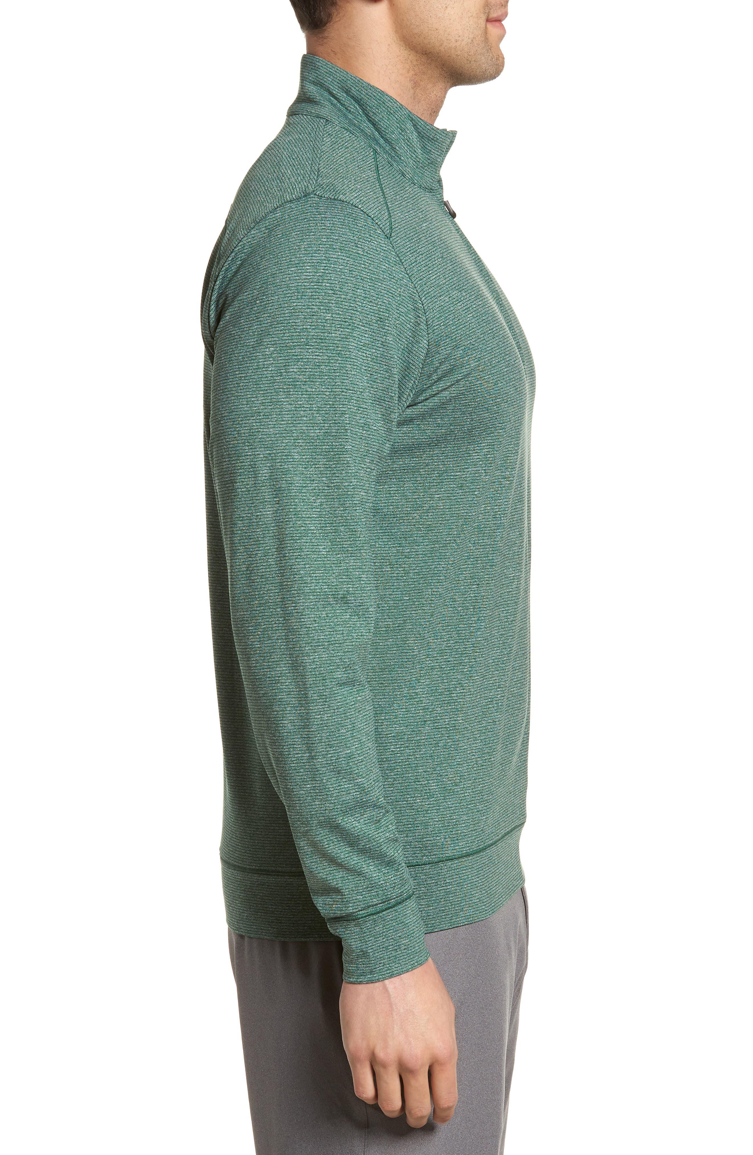 CUTTER & BUCK, Shoreline Classic Fit Half Zip Pullover, Alternate thumbnail 3, color, HUNTER HEATHER