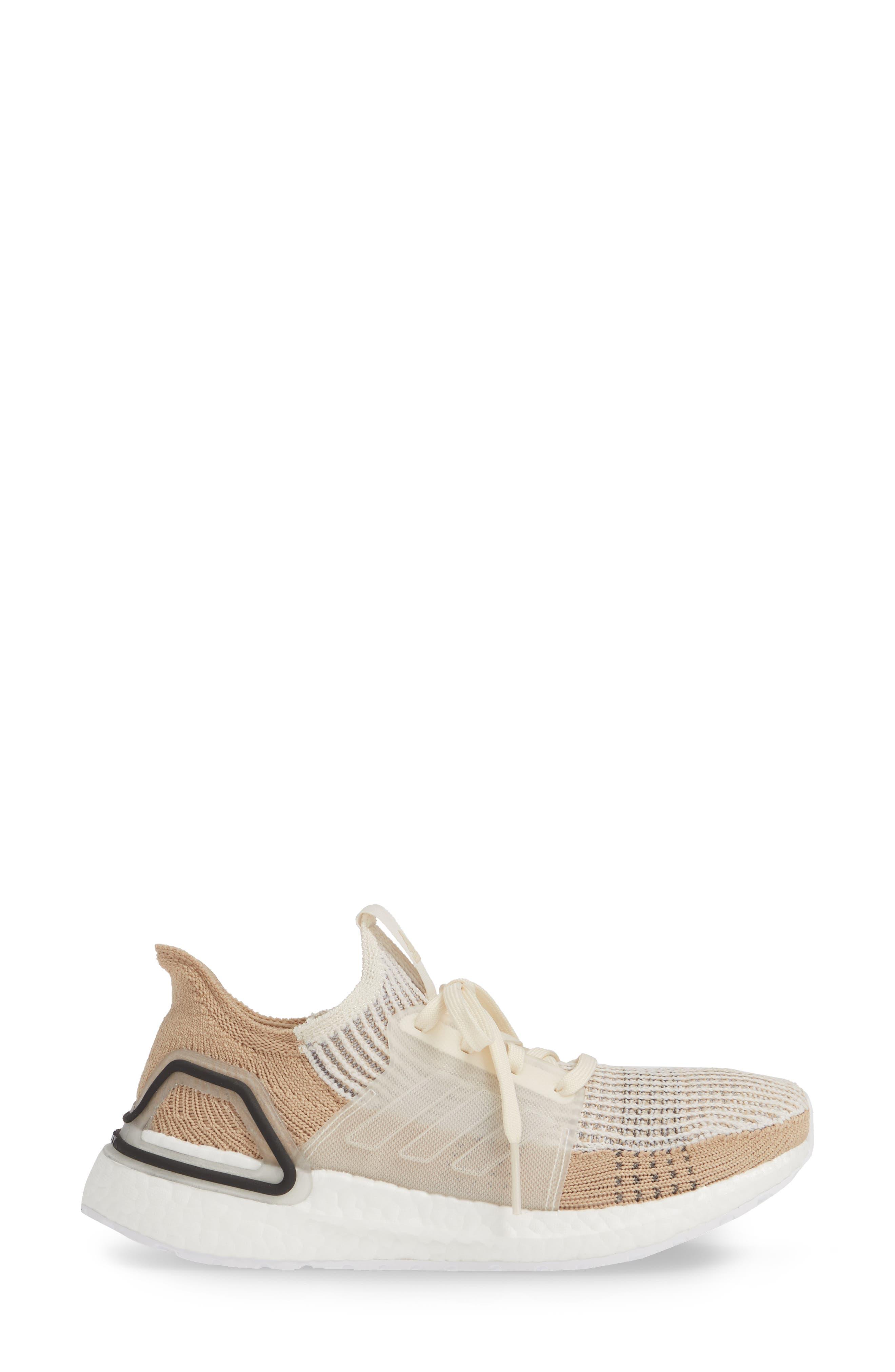 ADIDAS, UltraBoost 19 Running Shoe, Alternate thumbnail 3, color, CHALK WHITE/ PALE NUDE/ BLACK