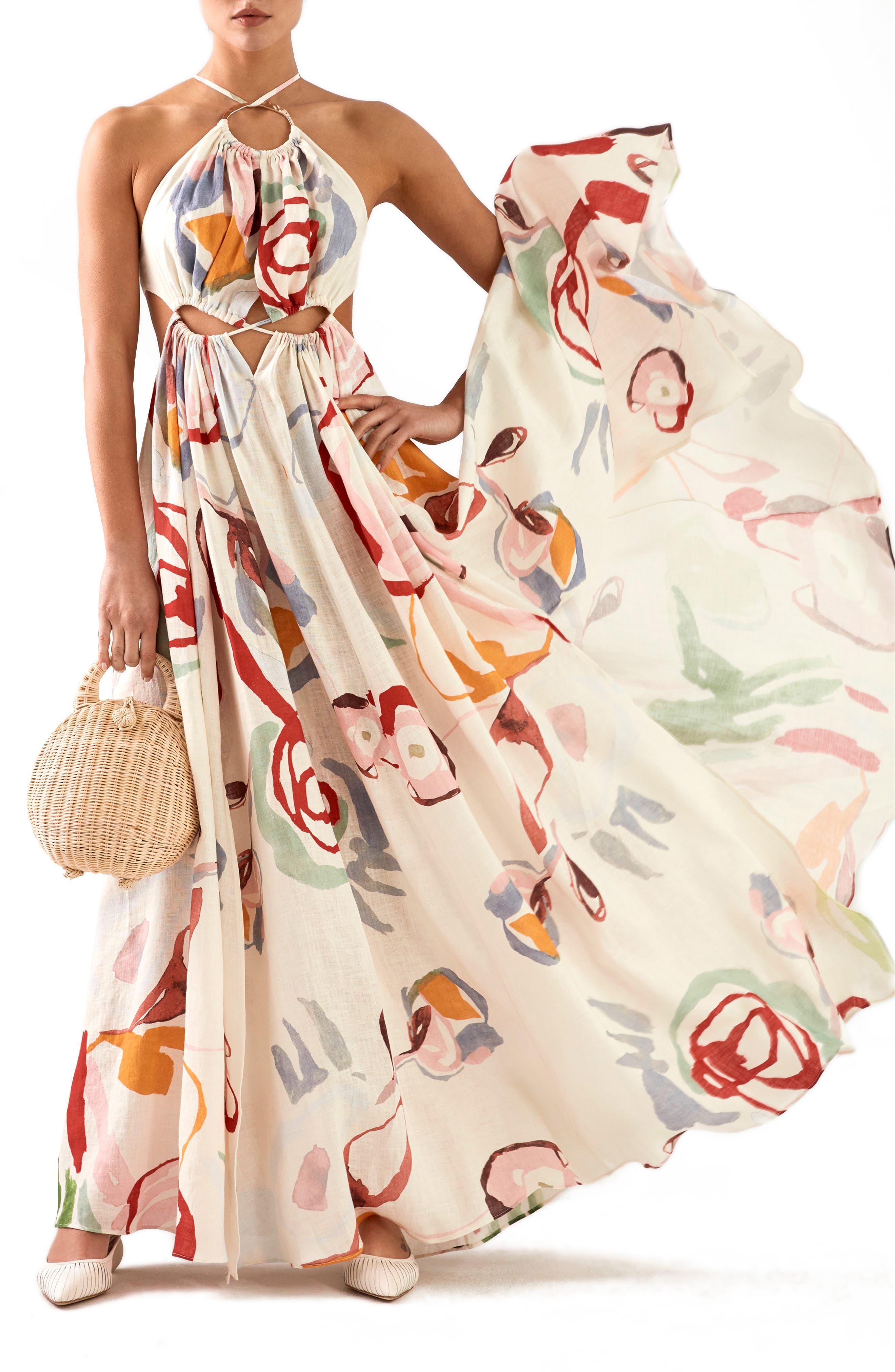 CULT GAIA, Aphrodite Grecian Halter Gown, Main thumbnail 1, color, 100