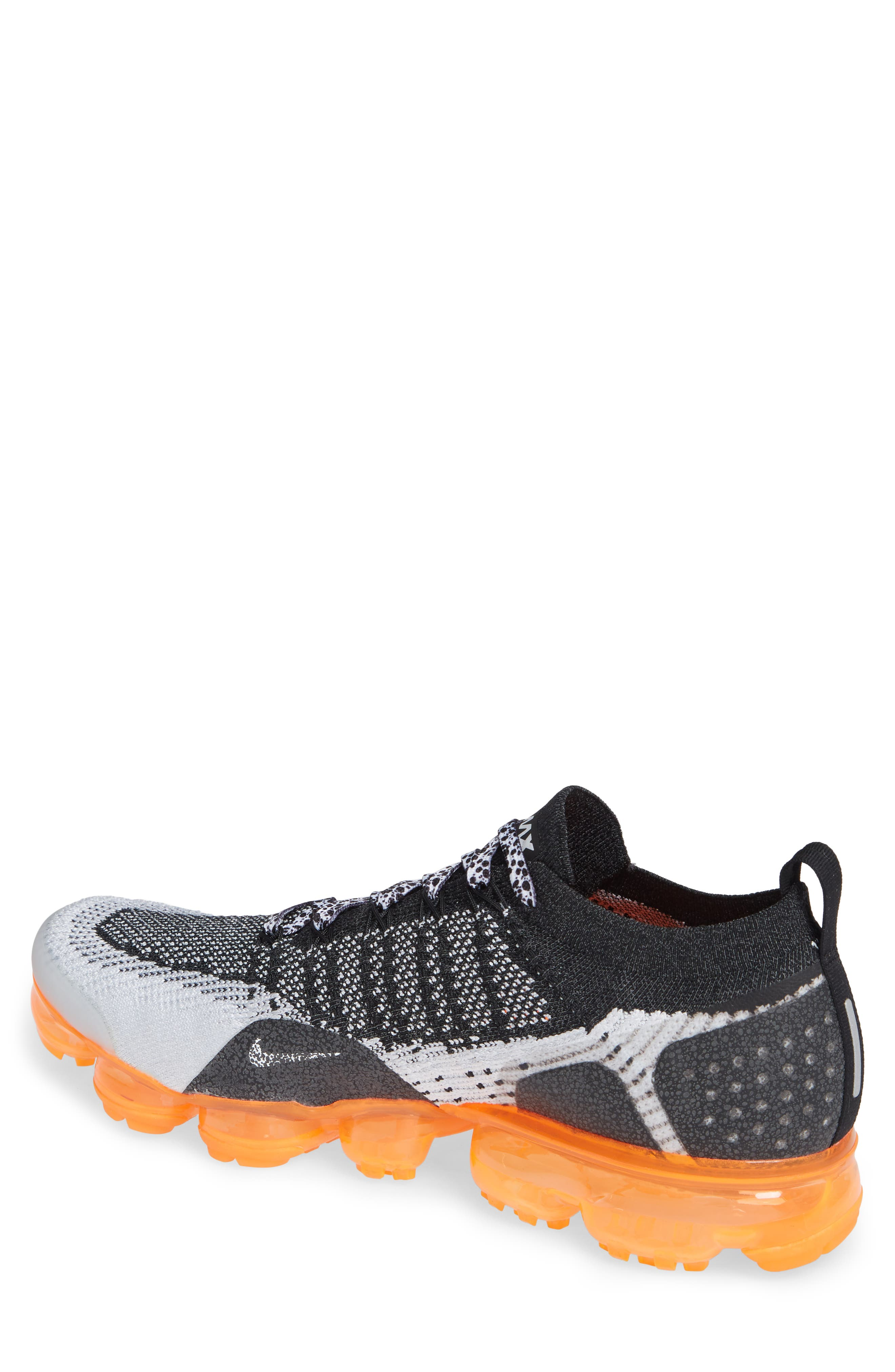 NIKE, Air VaporMax Flyknit 2 Running Shoe, Alternate thumbnail 2, color, WHITE/ BLACK/ TOTAL ORANGE