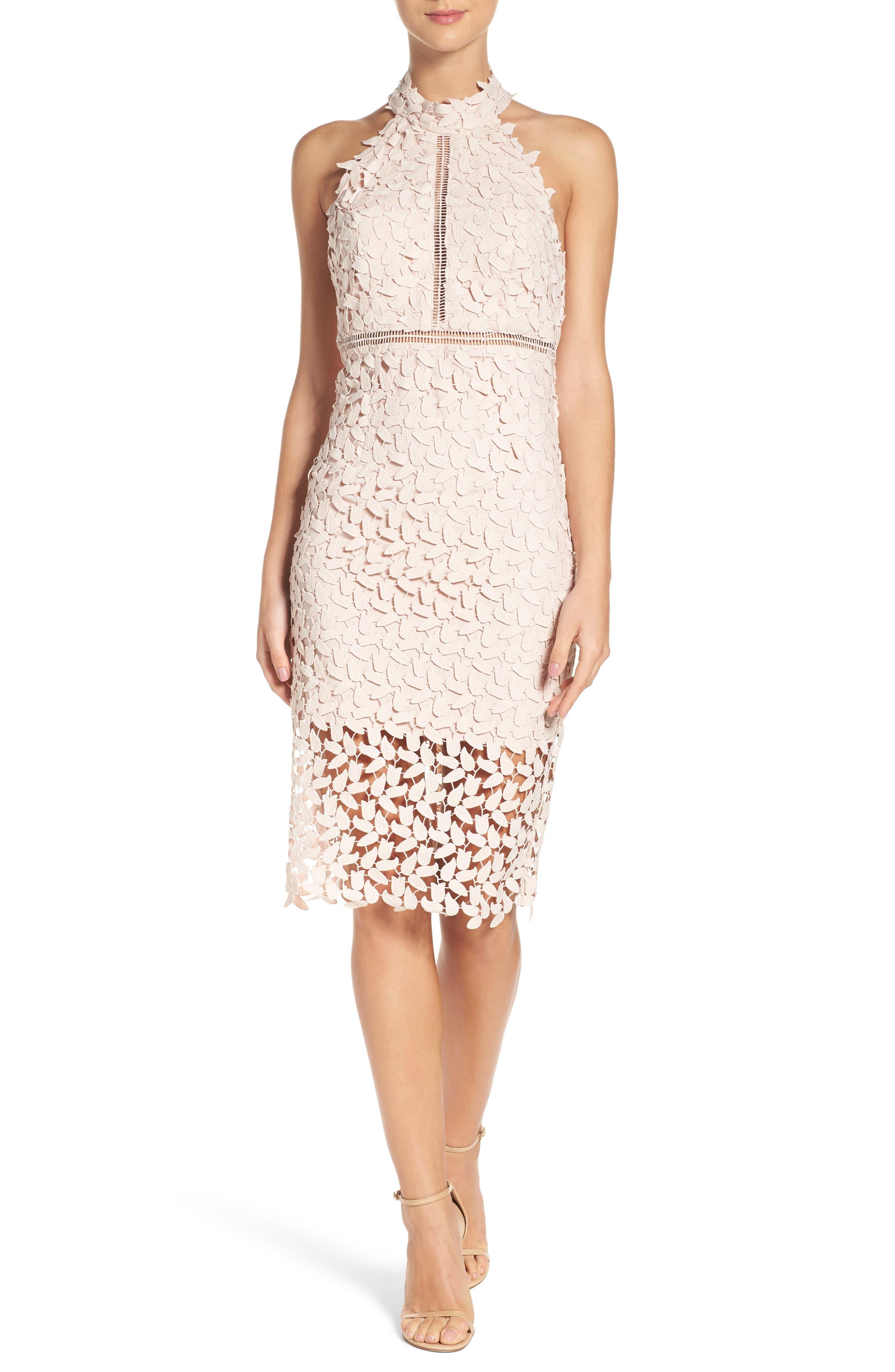 BARDOT, Gemma Halter Lace Sheath Dress, Main thumbnail 1, color, PROSECCO