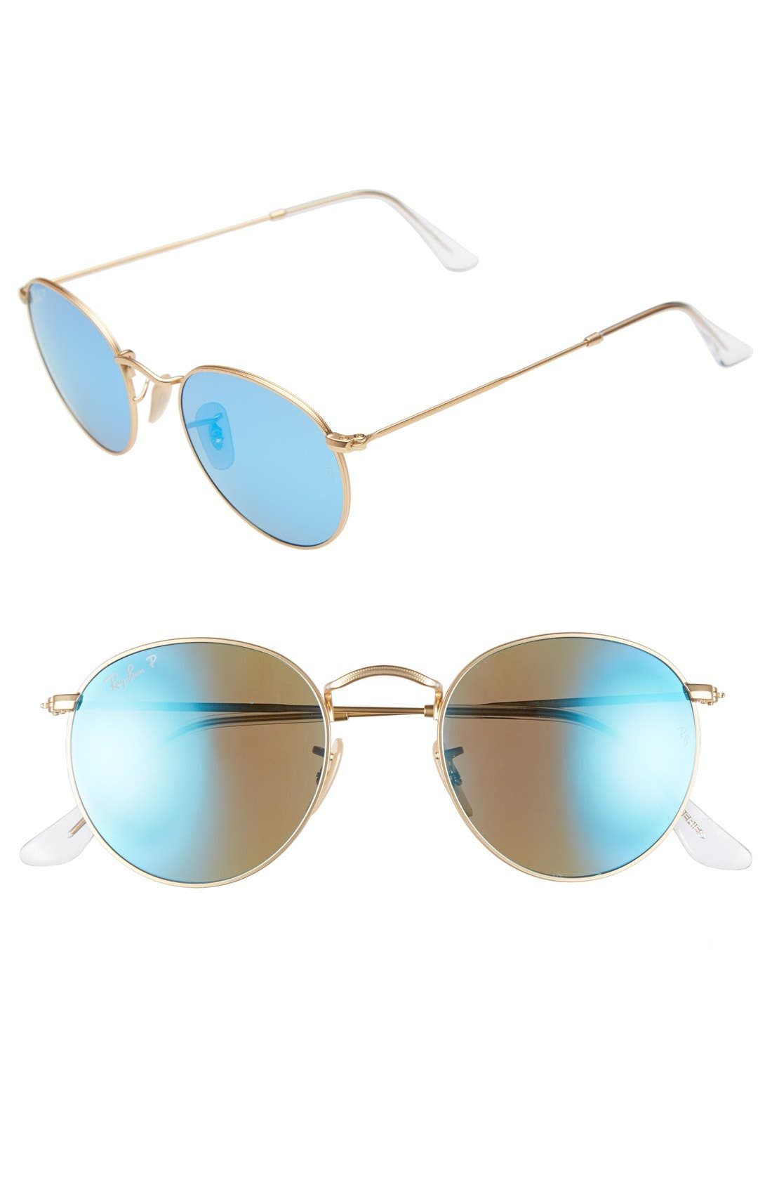 RAY-BAN 50mm Round Polarized Sunglasses, Main, color, GOLD/ BLUE MIRROR