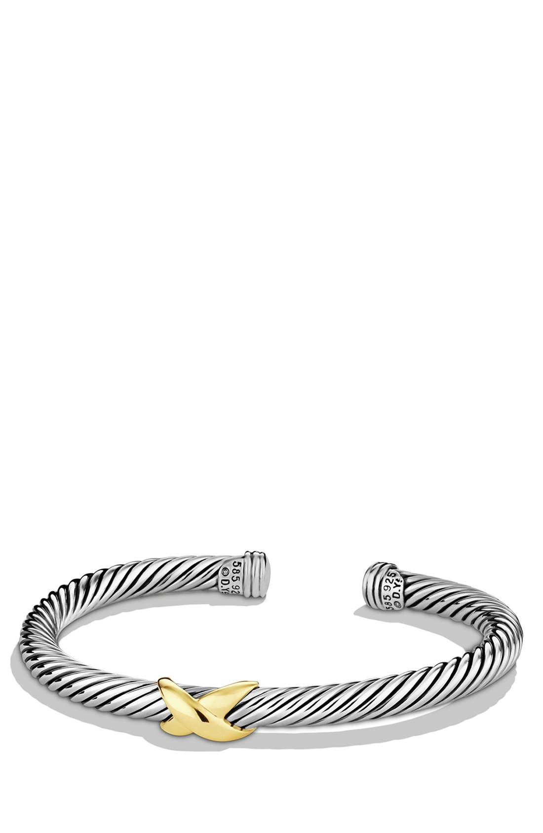 DAVID YURMAN, 'X' Bracelet with Gold, Main thumbnail 1, color, TWO TONE