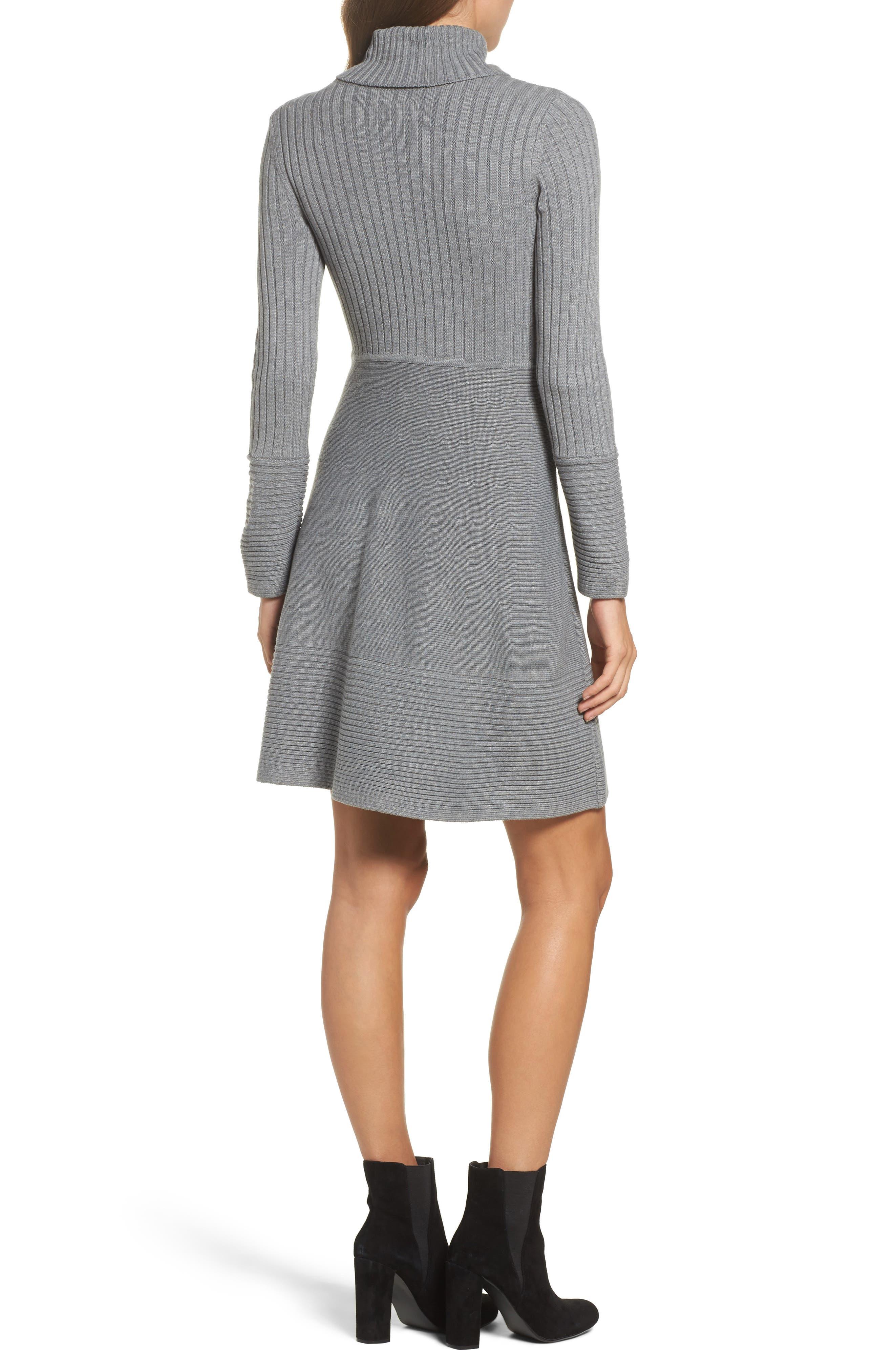 ELIZA J, Turtleneck Sweater Dress, Alternate thumbnail 2, color, GREY