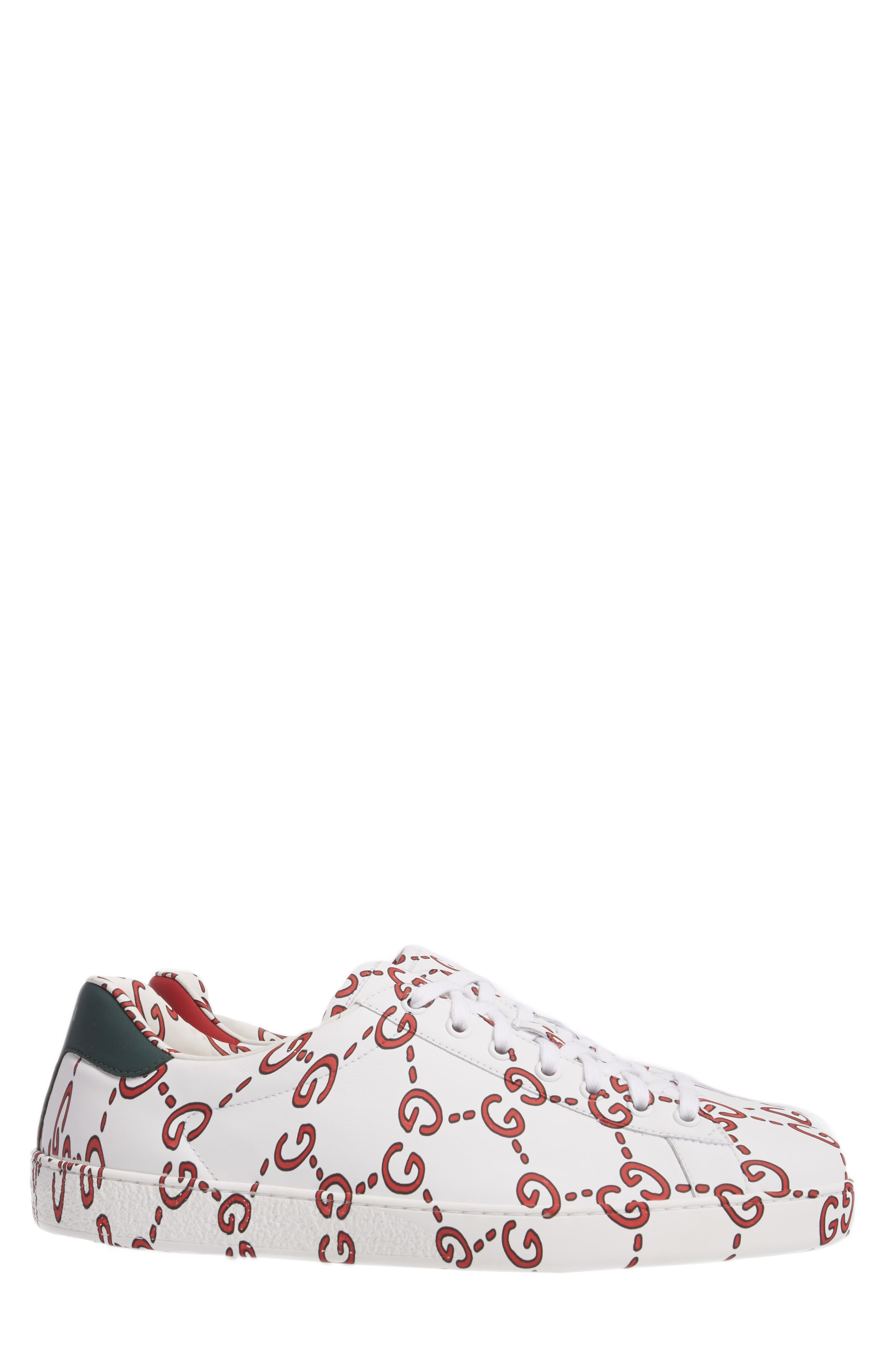 GUCCI, New Ace GG Print Sneaker, Alternate thumbnail 3, color, WHITE