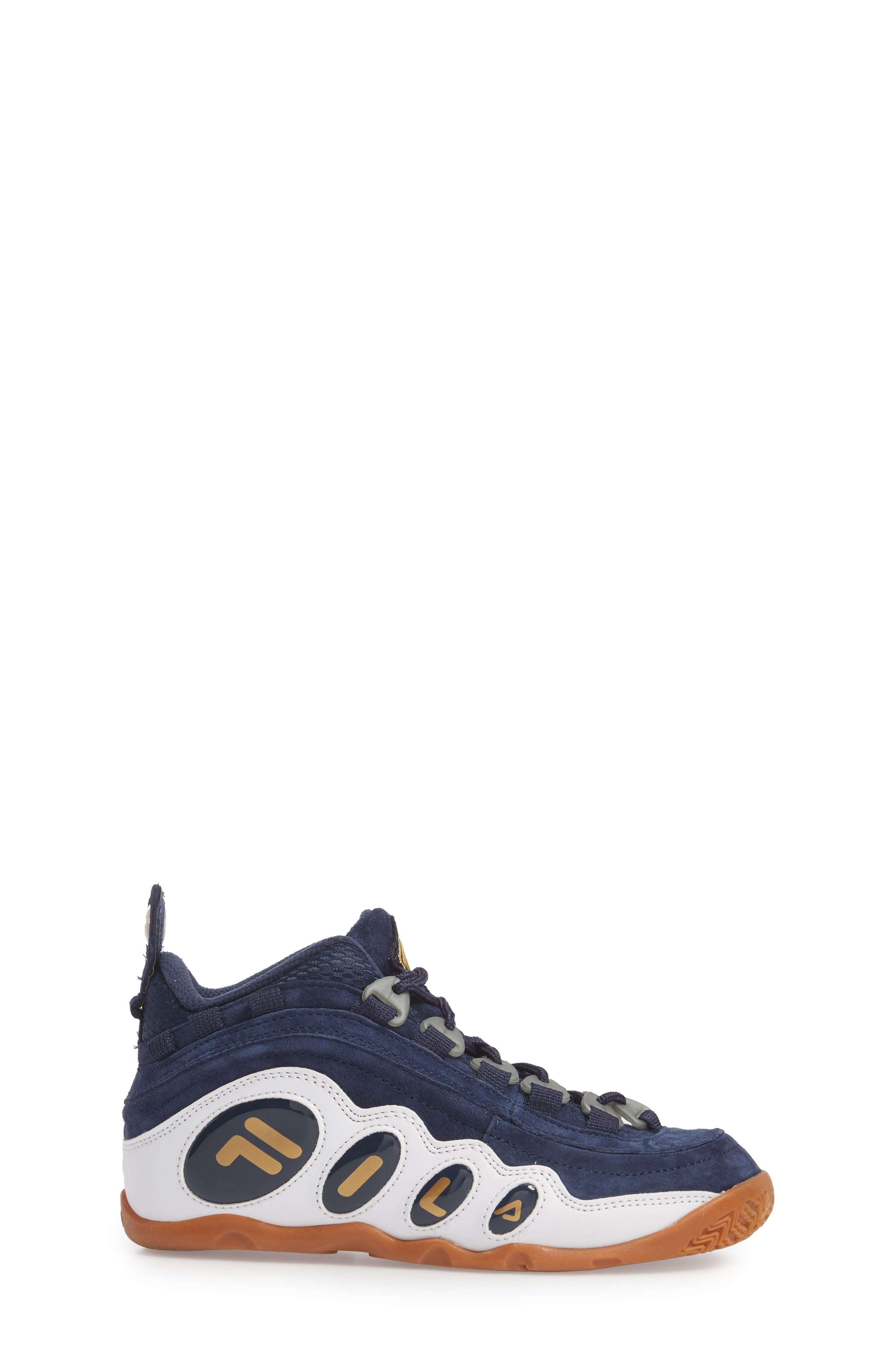 FILA, Bubbles Mid Top Sneaker Boot, Alternate thumbnail 3, color, NAVY/ GOLD/ WHITE