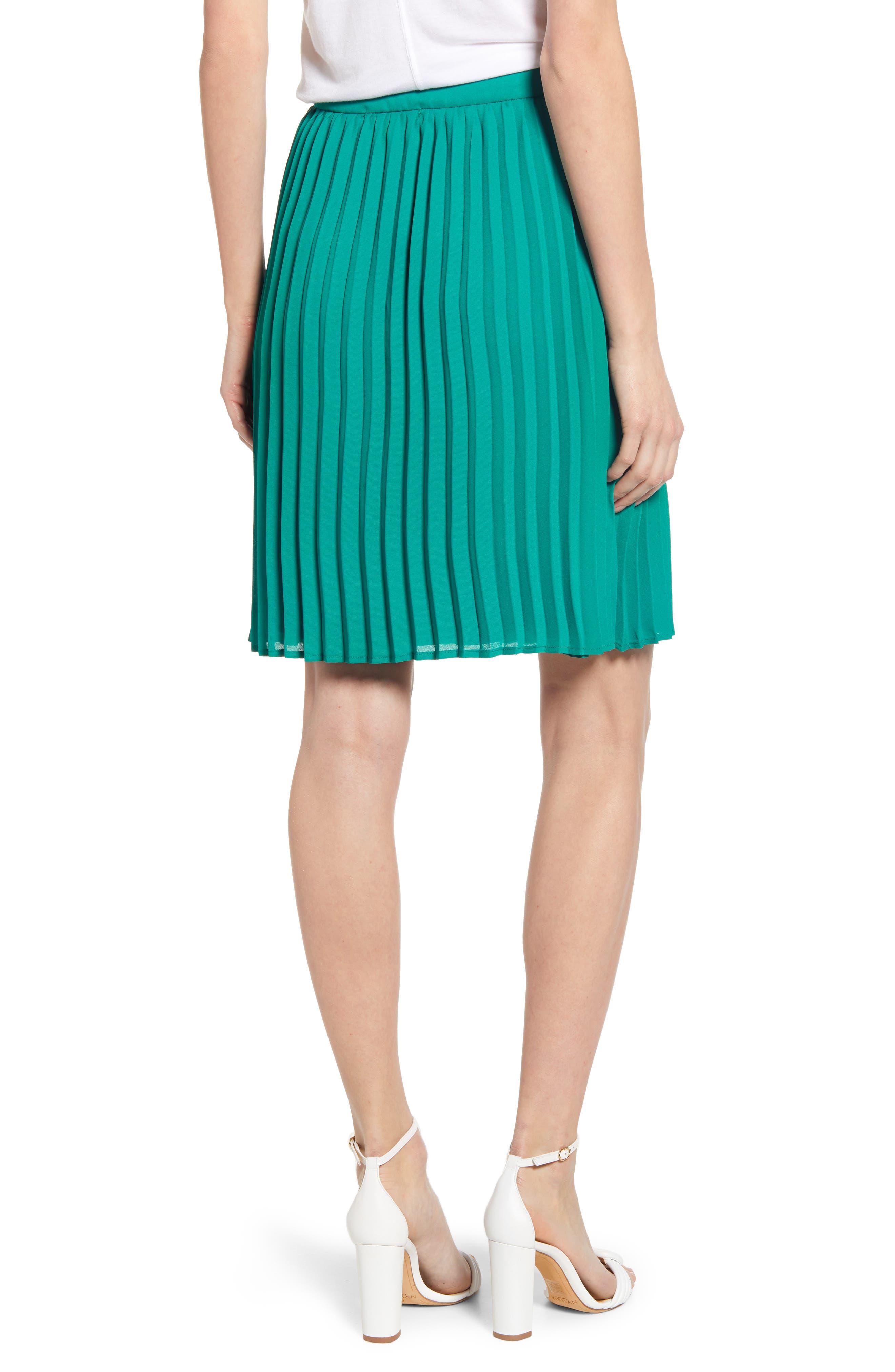 GIBSON, x International Women's Day Thamarr Pleated Skirt, Alternate thumbnail 2, color, GREEN