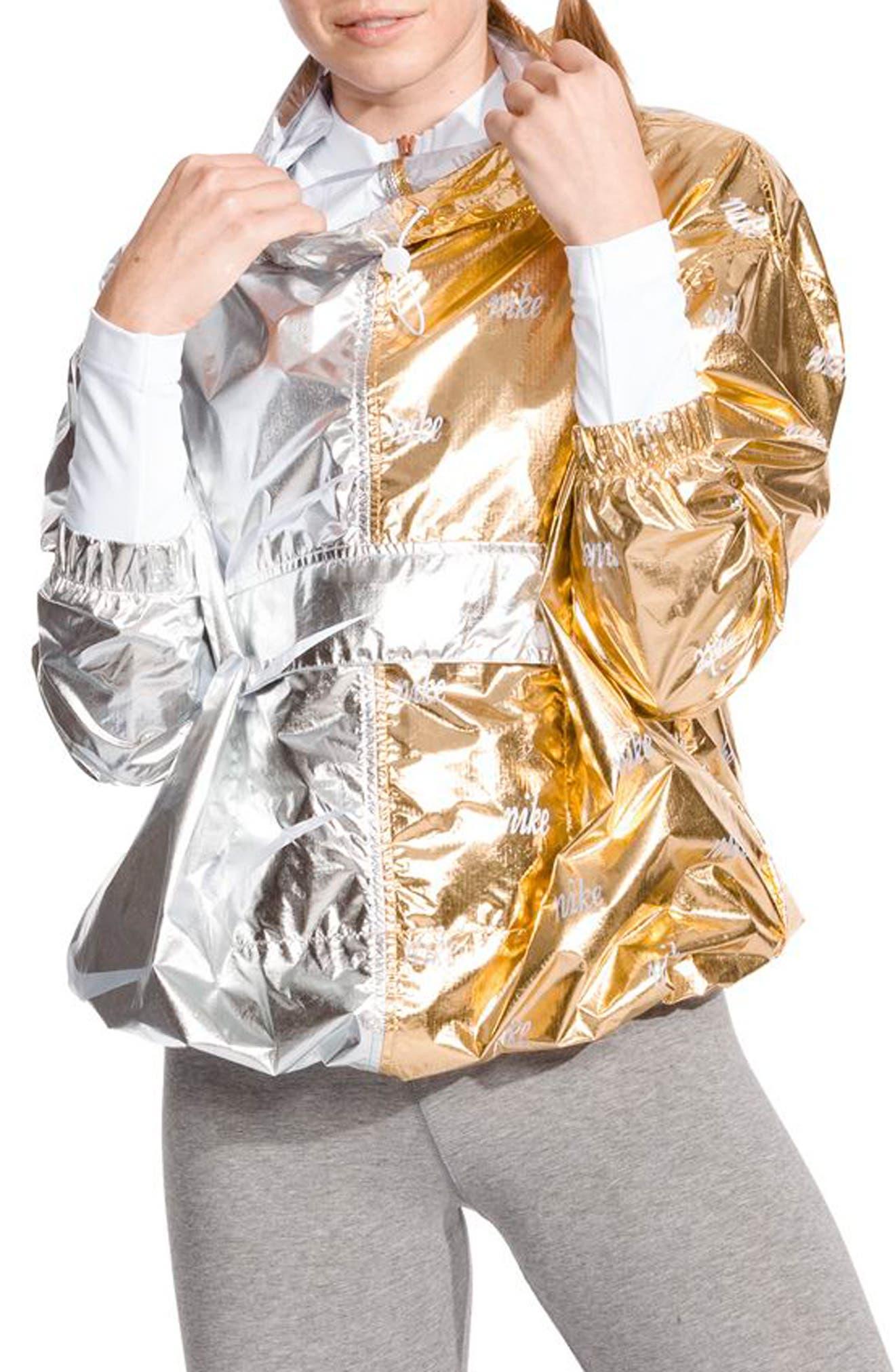 NIKE Sportswear Women's Metallic Jacket, Main, color, GOLD/ SILVER