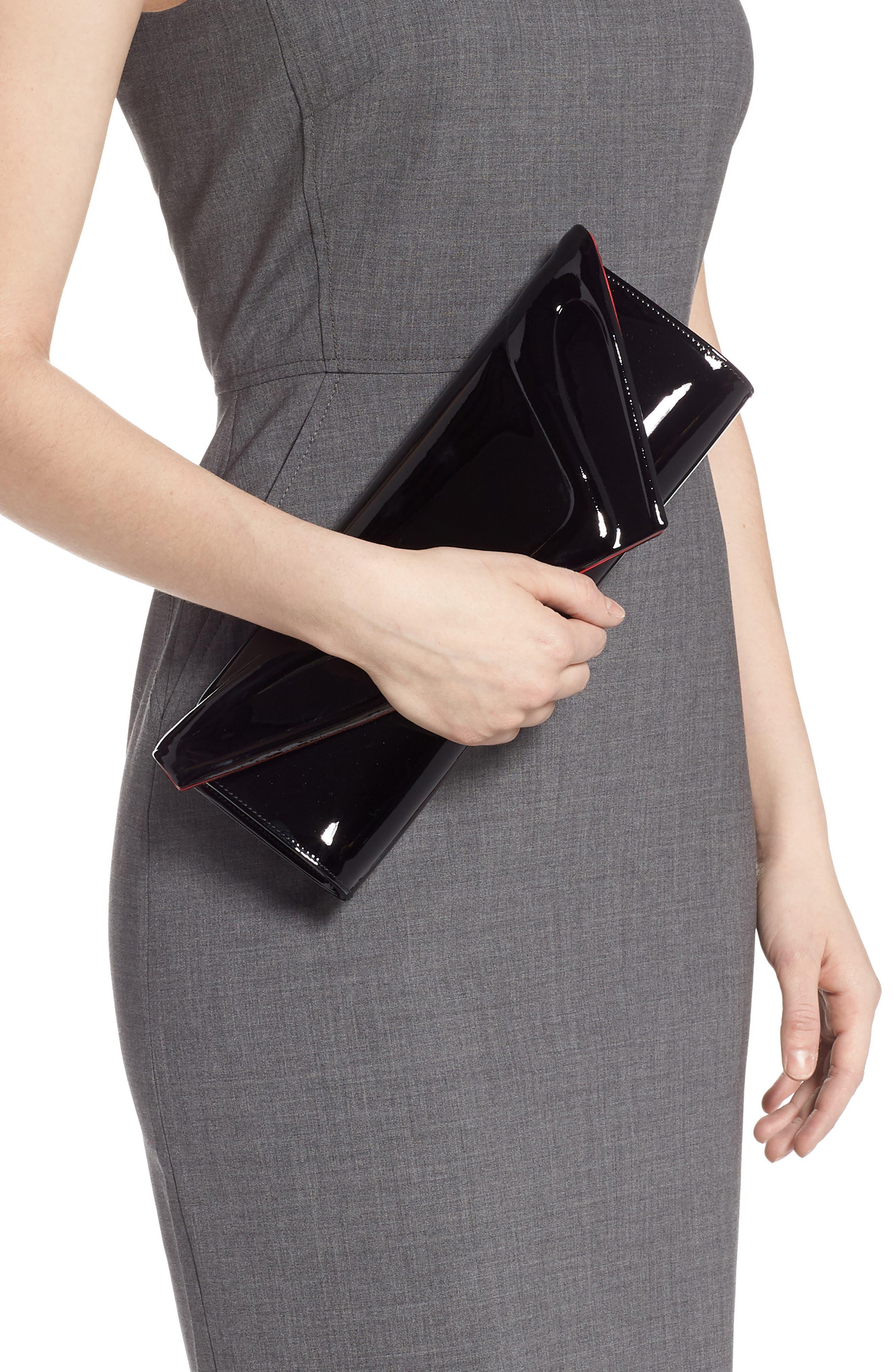 CHRISTIAN LOUBOUTIN, So Kate Patent Leather Clutch, Alternate thumbnail 2, color, BLACK