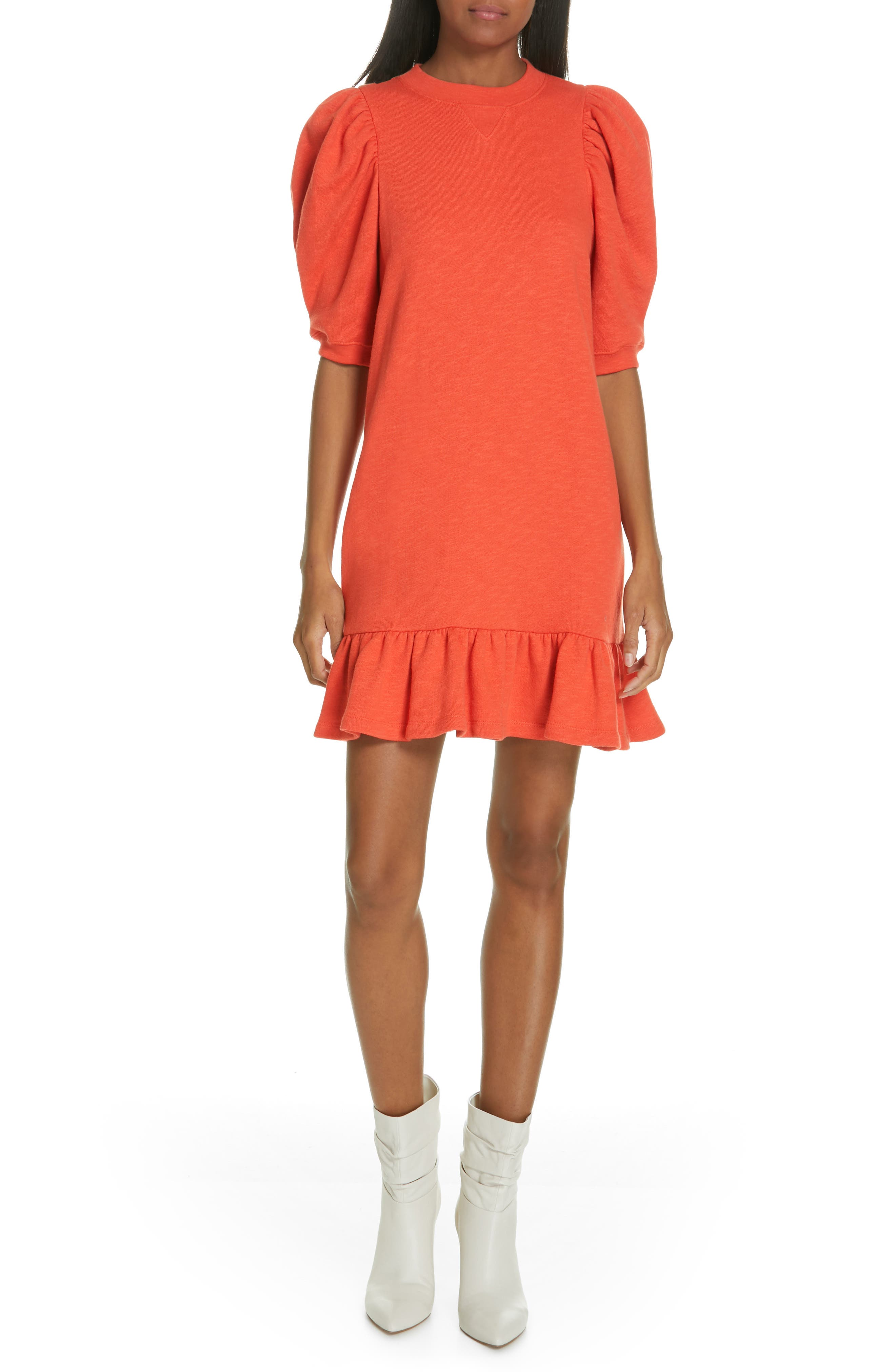 ULLA JOHNSON, Landry Puff Sleeve Sweatshirt Dress, Main thumbnail 1, color, CHILI