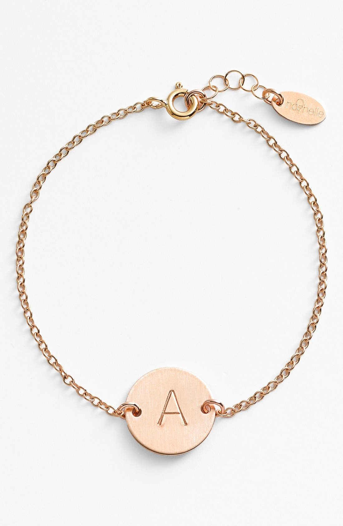 NASHELLE 14k-Gold Fill Initial Disc Bracelet, Main, color, 14K GOLD FILL A