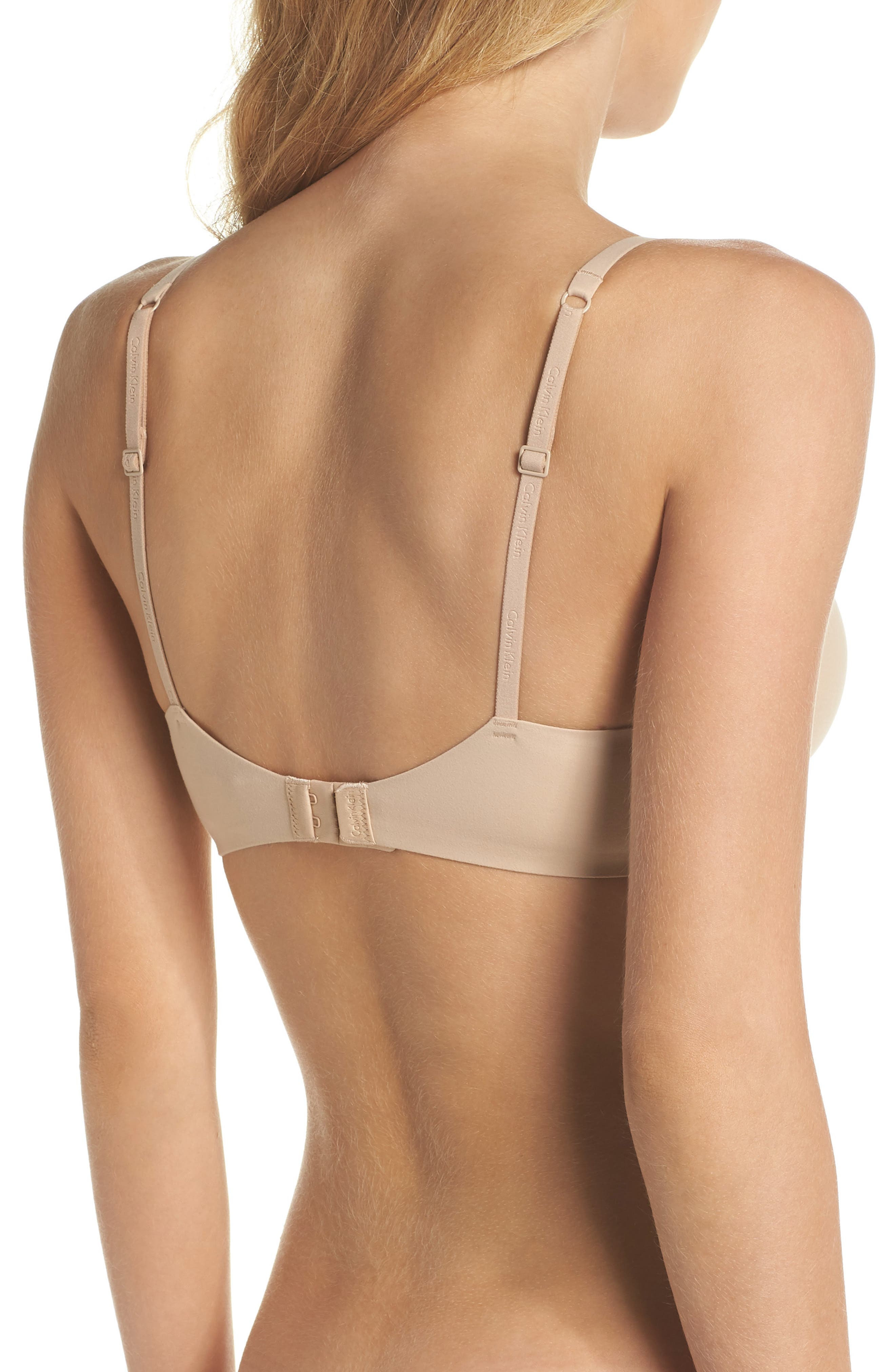 CALVIN KLEIN, Perfectly Fit - Modern T-Shirt Bra, Alternate thumbnail 2, color, BARE
