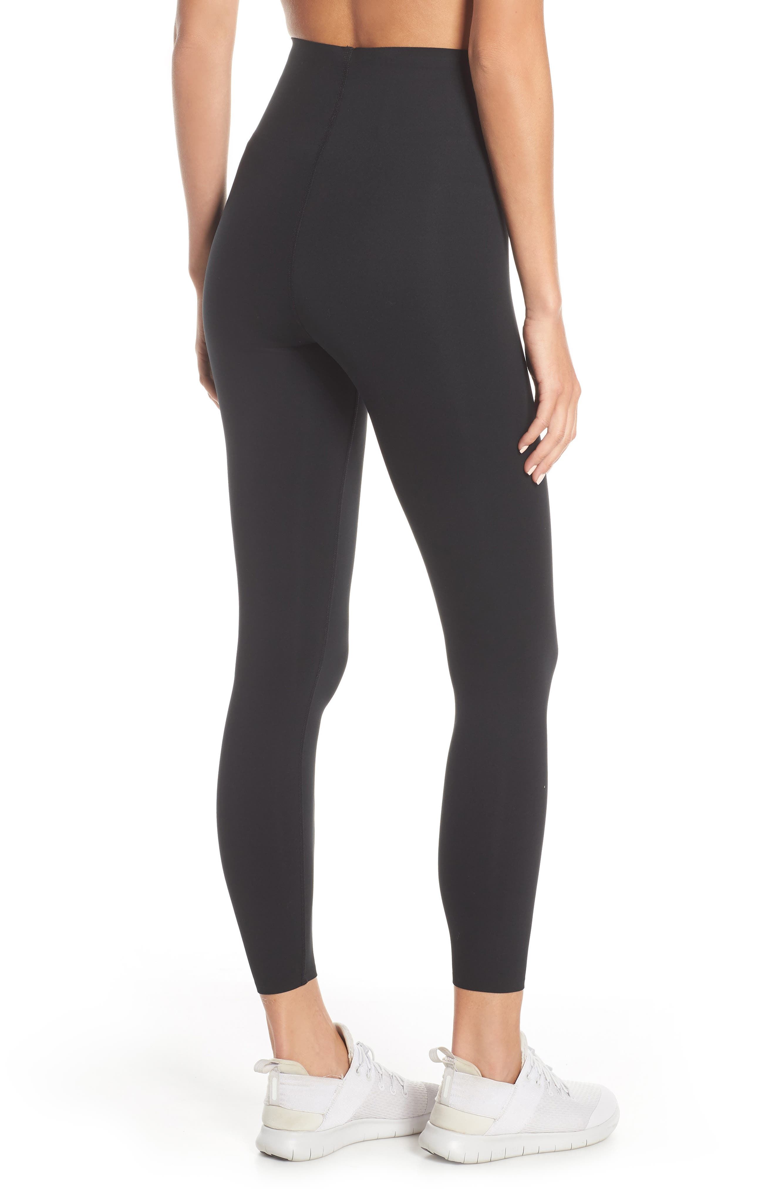 NIKE, Dry Sculpt Lux Tights, Alternate thumbnail 4, color, BLACK/ CLEAR