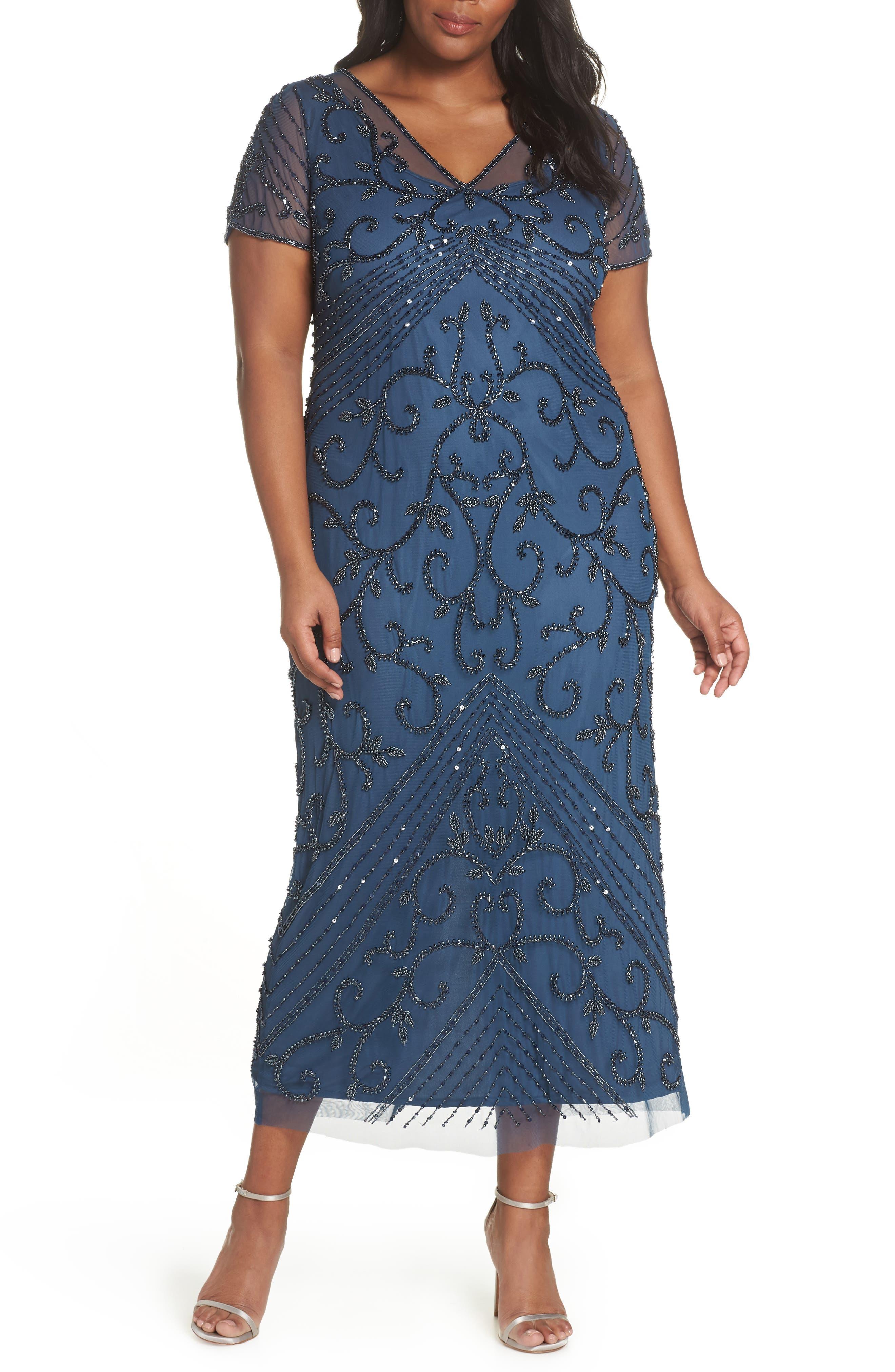 Plus Size Pisarro Nights Beaded Mesh Gown, Blue