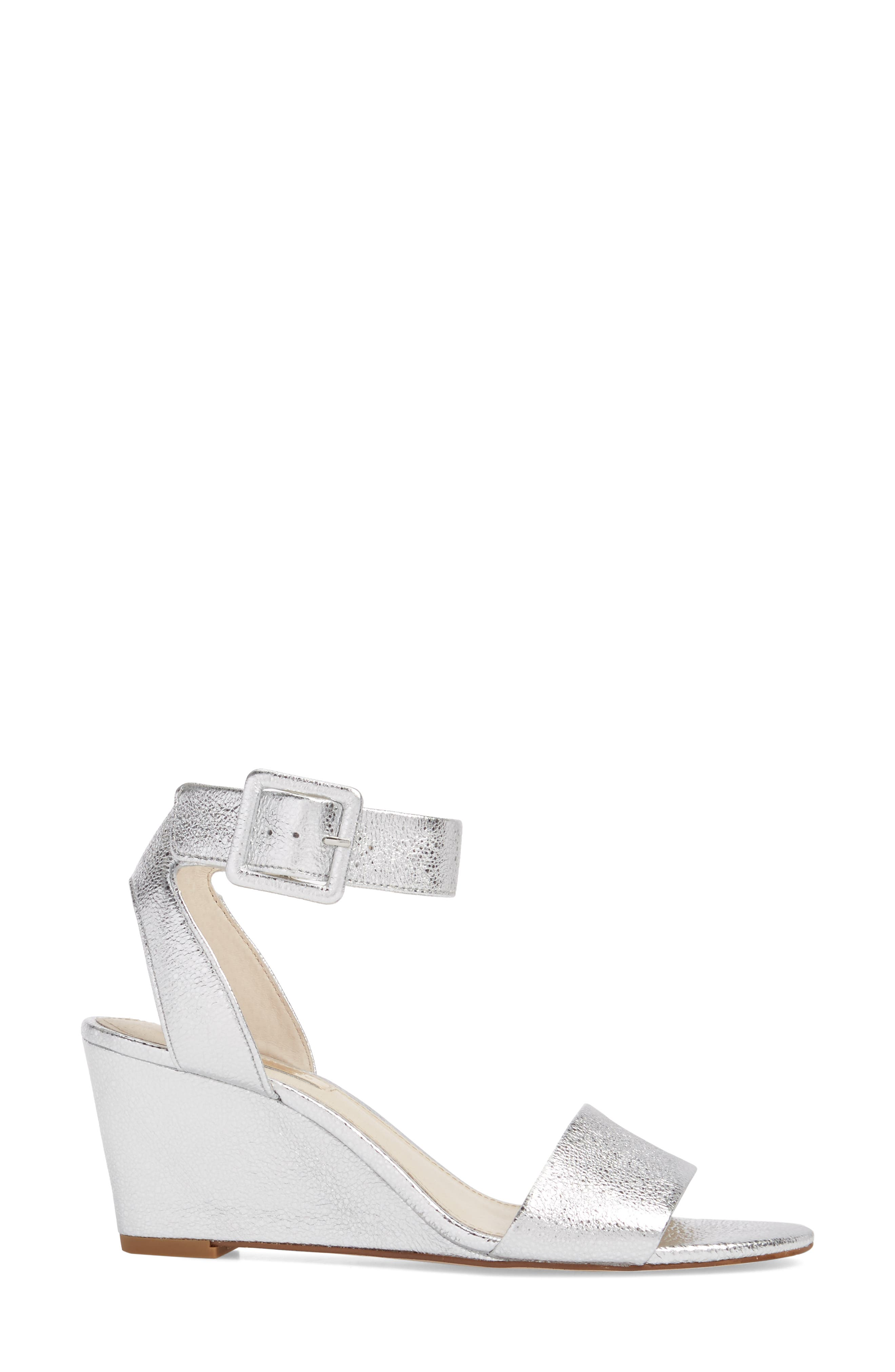 LOUISE ET CIE, Punya Wedge Sandal, Alternate thumbnail 3, color, STERLING LEATHER