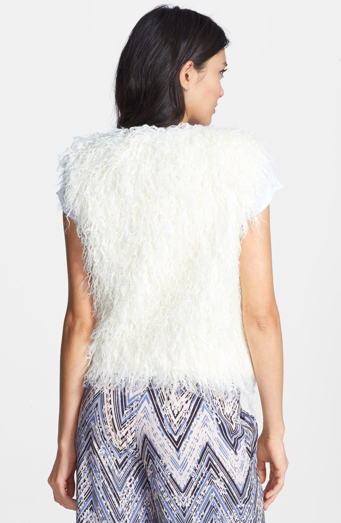 MURAL, Shaggy Faux Fur Vest, Alternate thumbnail 3, color, 110