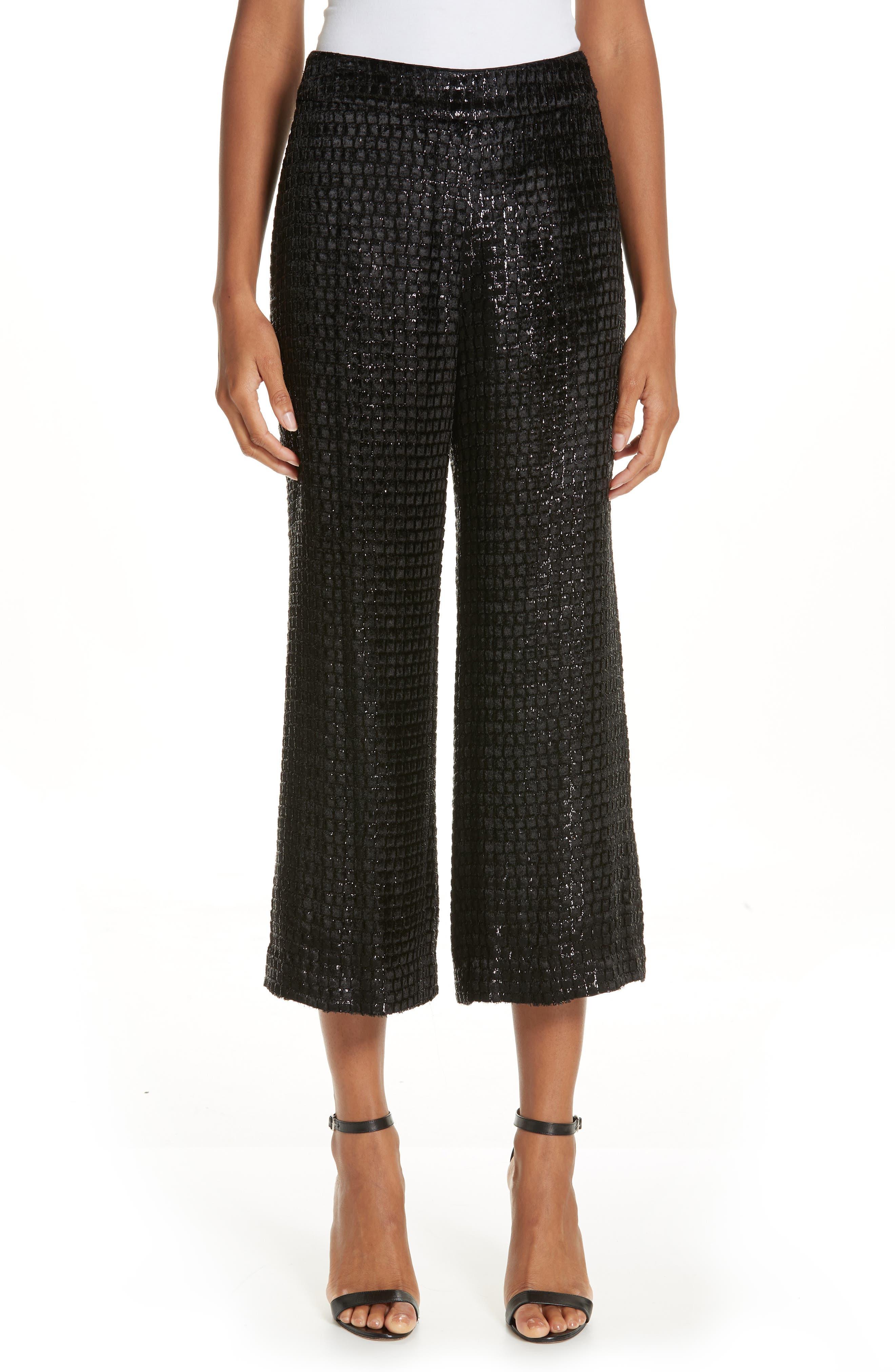 BRANDON MAXWELL, Metallic Velvet Crop Wide Leg Pants, Main thumbnail 1, color, BLACK