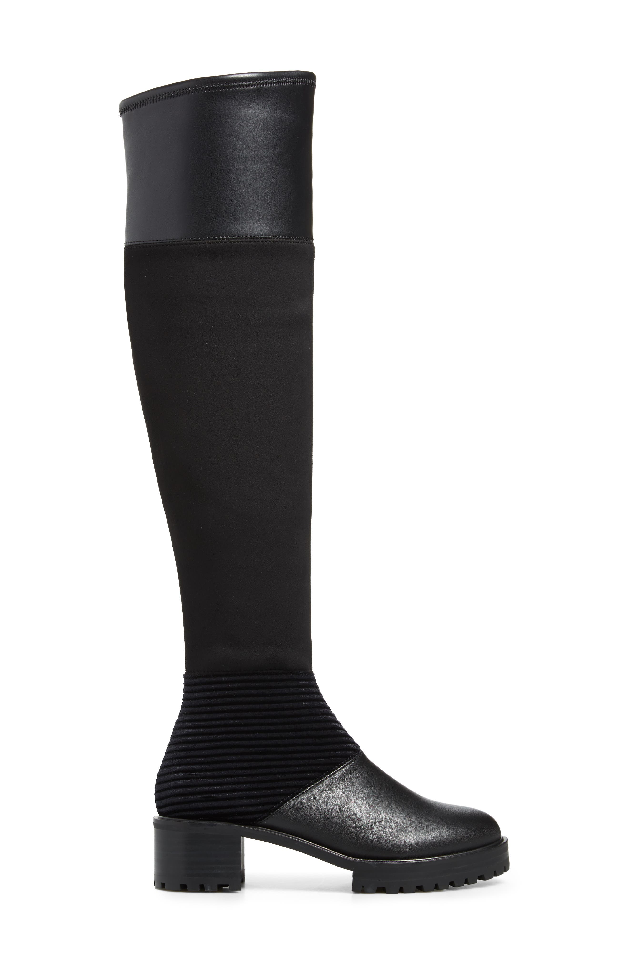 M4D3, Nakina Over the Knee Boot, Alternate thumbnail 3, color, BLACK LEATHER
