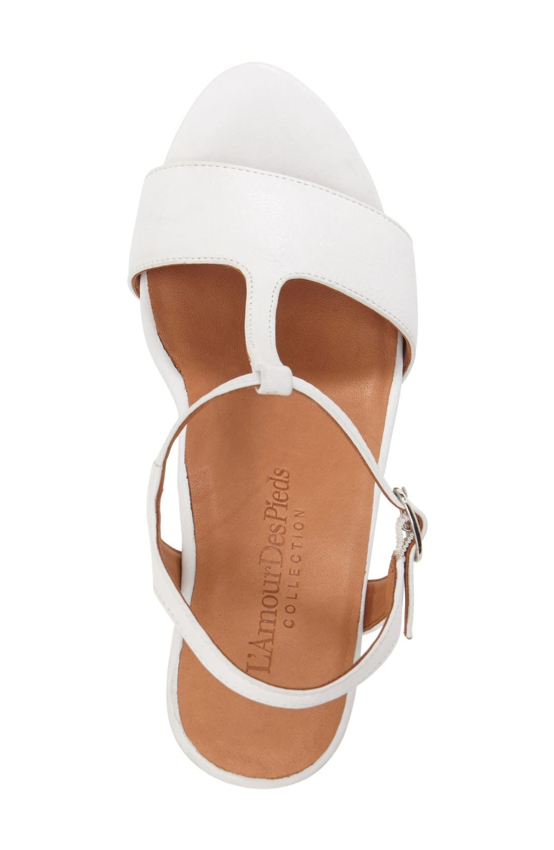 L'AMOUR DES PIEDS, Idelle' Platform Wedge Sandal, Alternate thumbnail 3, color, WHITE LEATHER