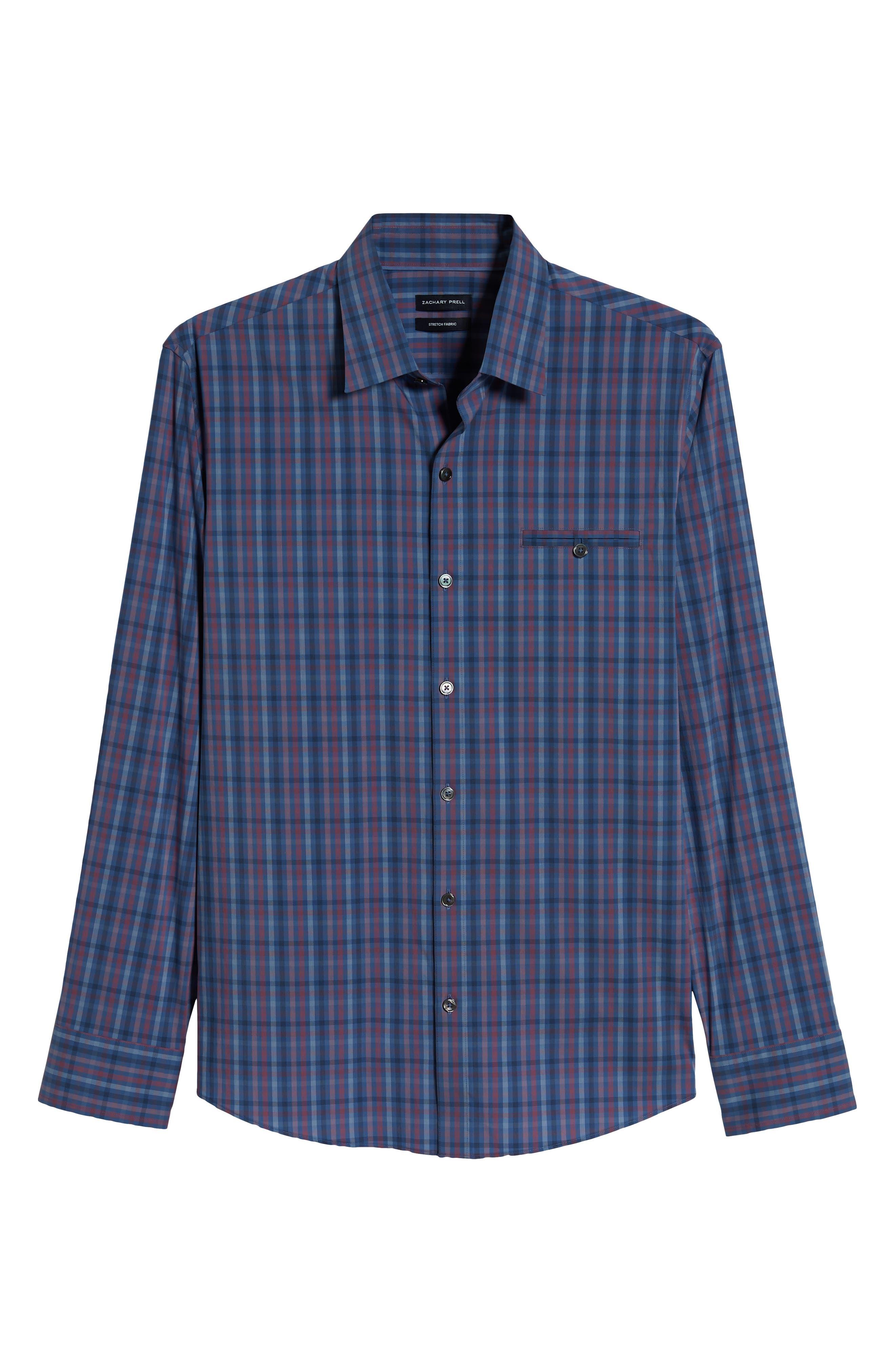 ZACHARY PRELL, Guastella Regular Fit Sport Shirt, Alternate thumbnail 5, color, AZURE
